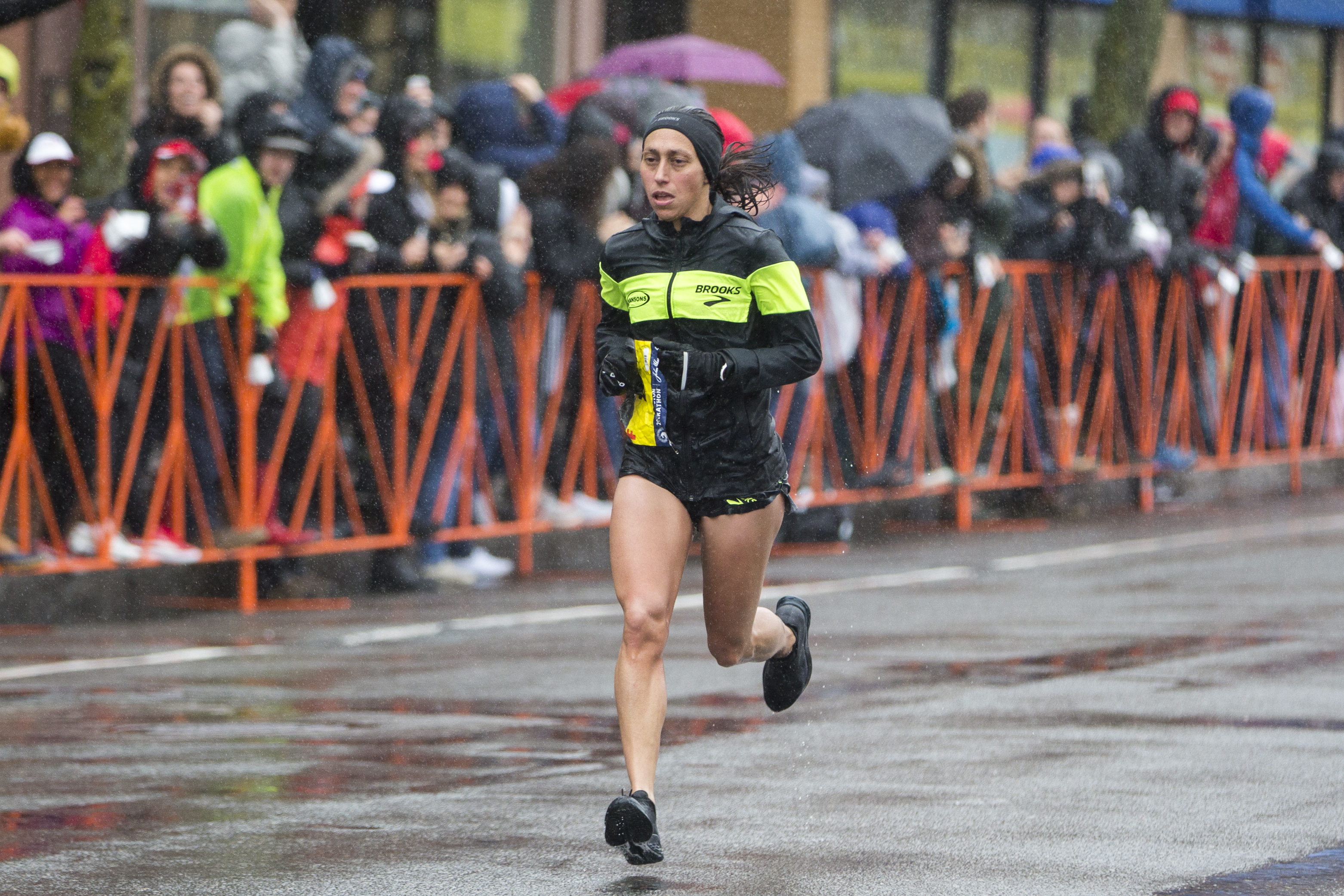 Desiree Linden approaches the 24 mile marker of the 2018 Boston Marathon on April 16, 2018 in Brookline, Massachusetts. Linden became the first American winner since 1985 with an unofficial time of 2:39:54.