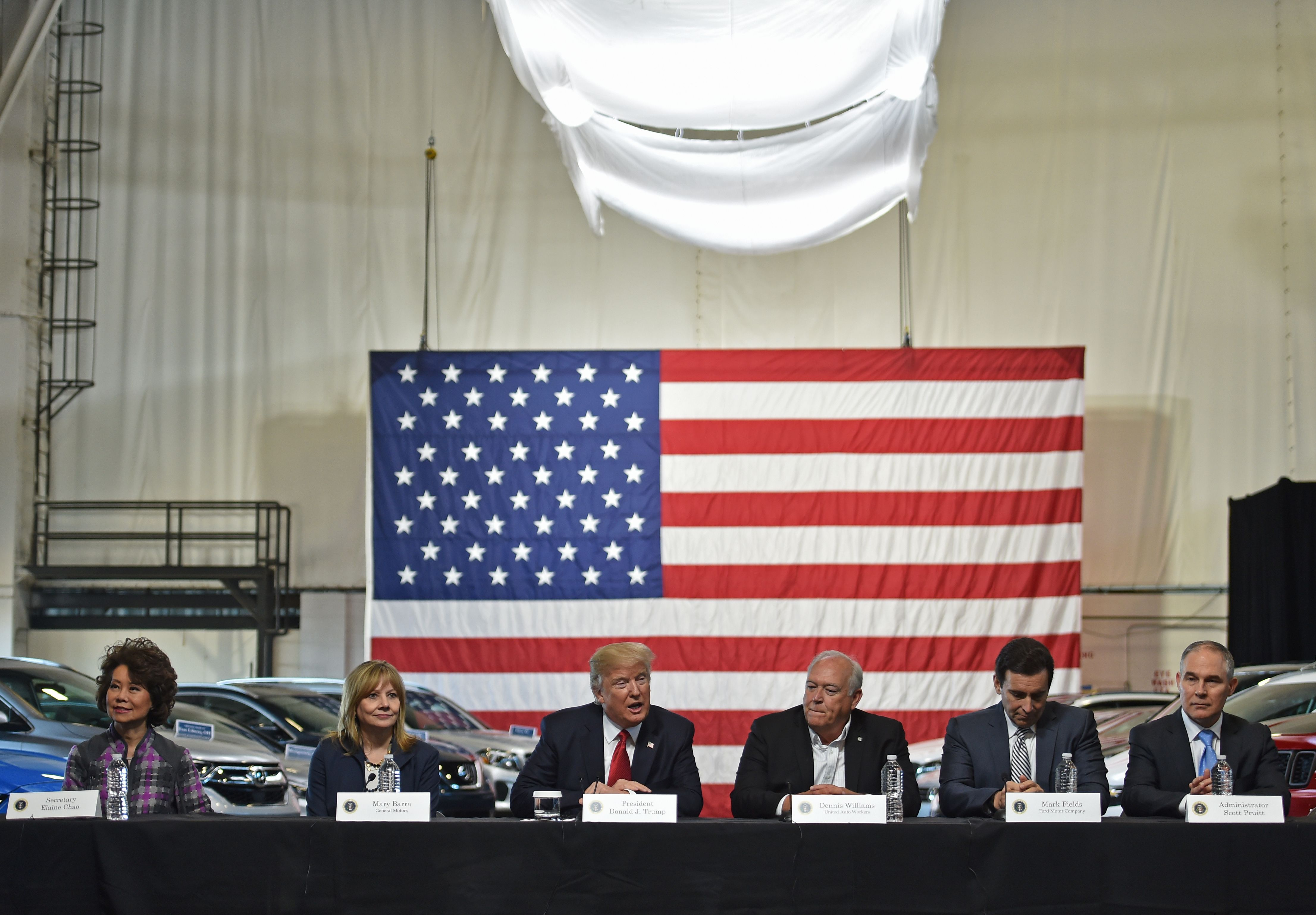 President Donald Trump delivers remarks at an auto manufacturing hub, the American Center for Mobility in Michigan on March 15