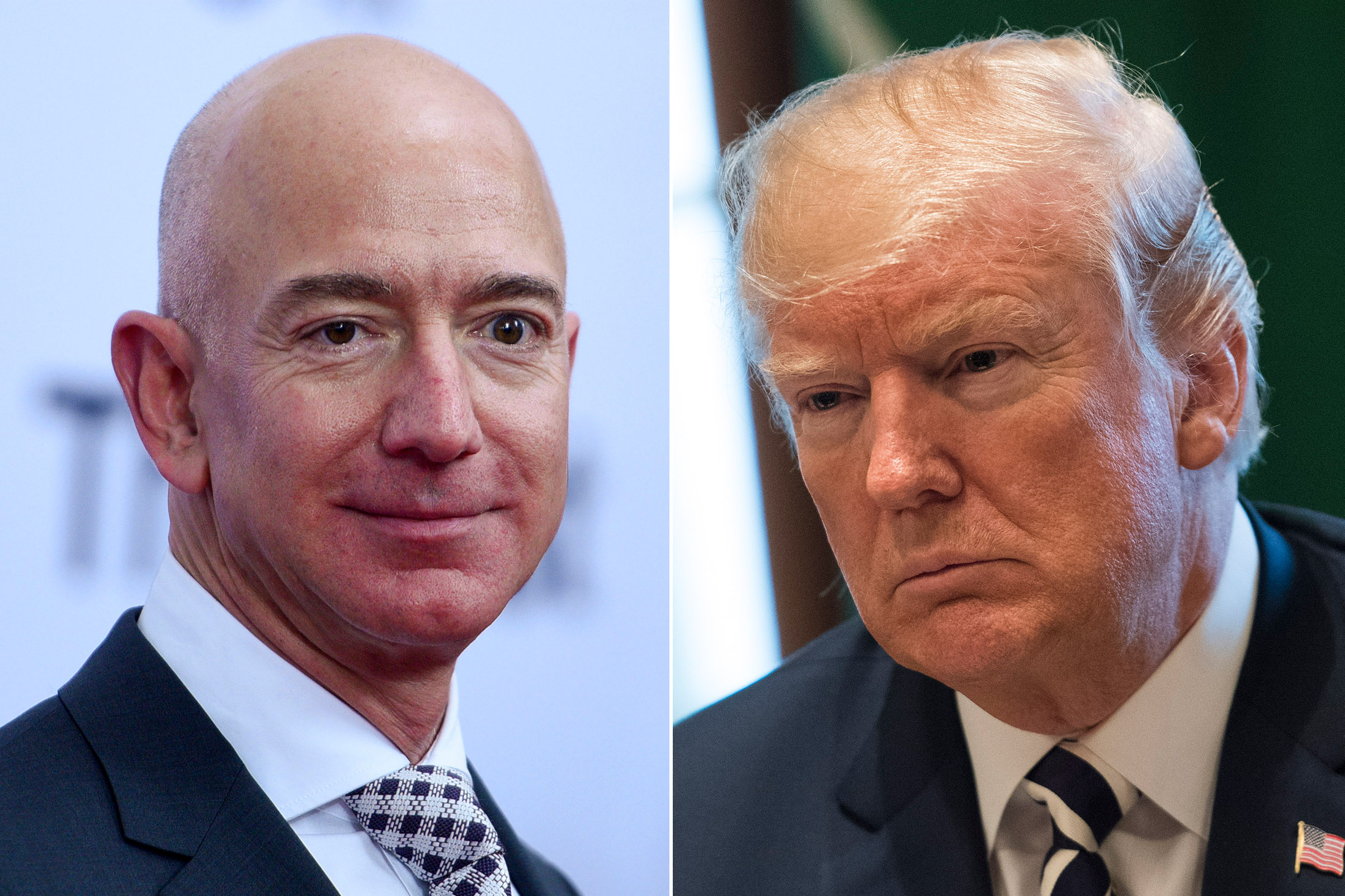 Amazon CEO Jeff Bezos; President Donald Trump