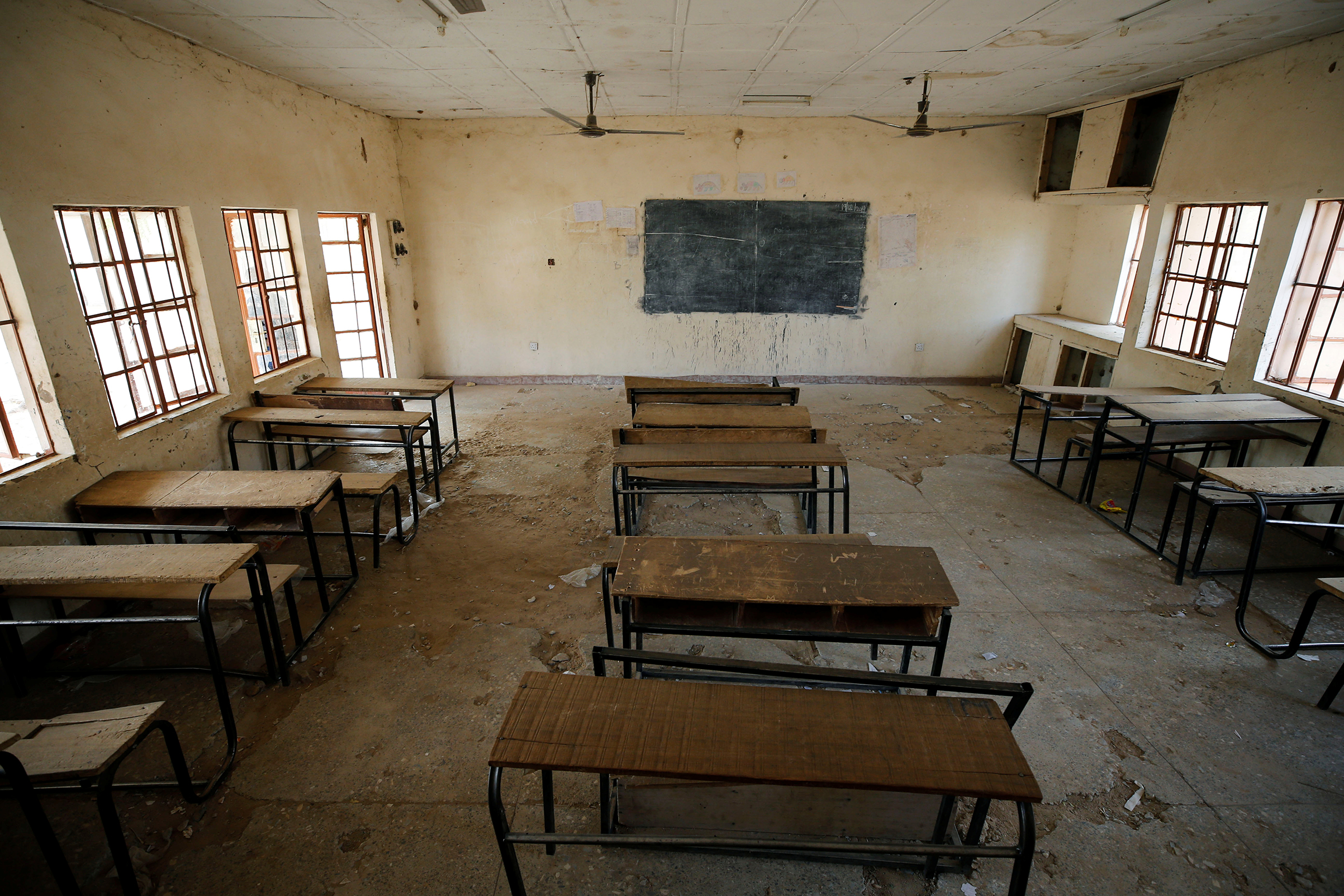 An empty classroom at the school in Dapchi, Nigeria, where dozens of school girls went missing after an attack on the village by Boko Haram on Feb. 23, 2018.
