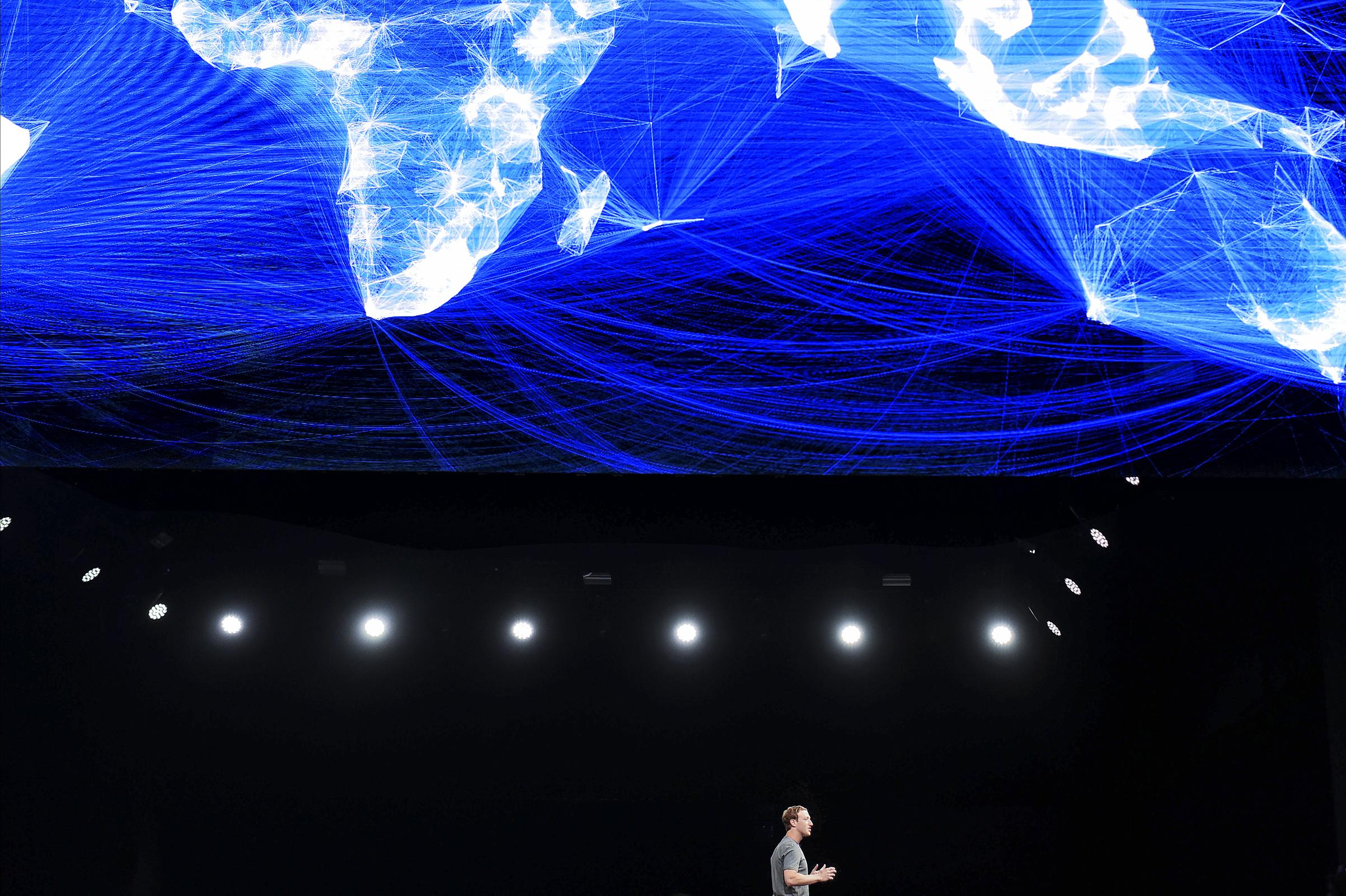 Facebook founder and CEO Mark Zuckerberg speaks during a presentation on Feb.21, 2016, inBarcelona