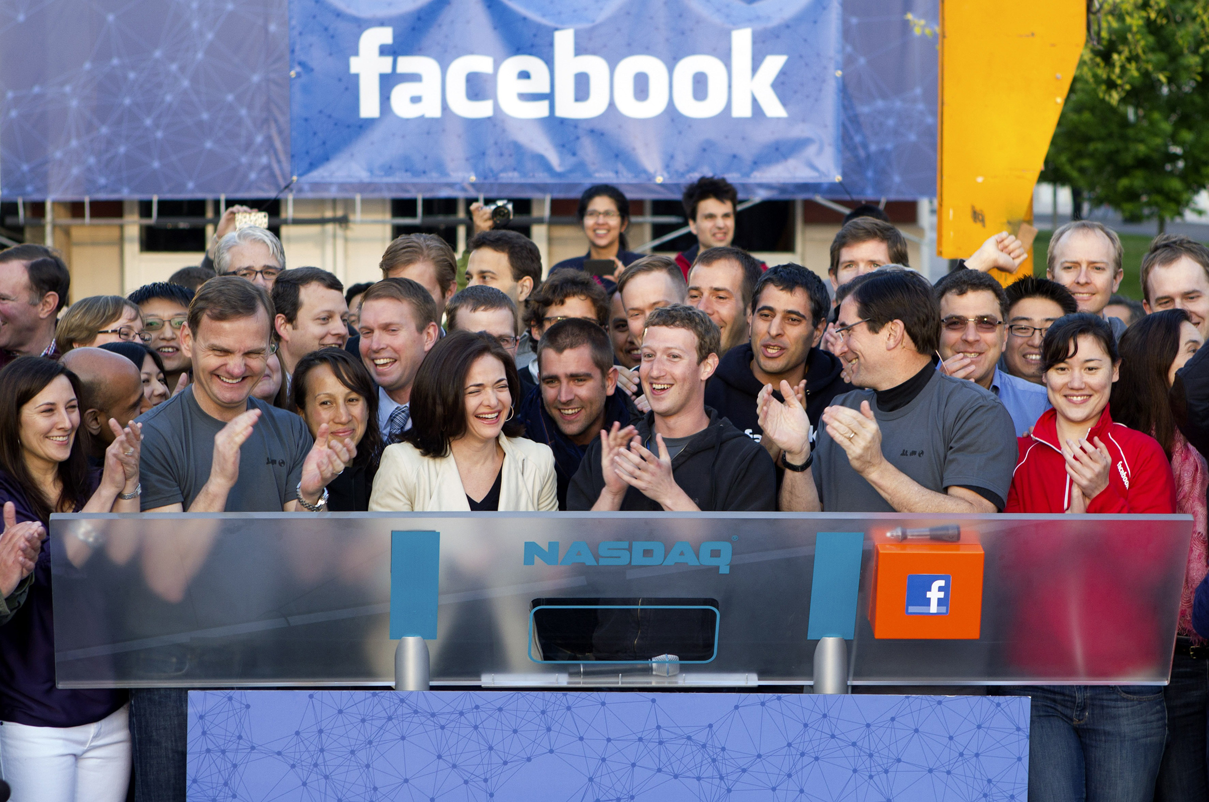 Zuckerberg and Sandberg celebrate Facebook's May 18, 2012, IPO, which would come to be seen as a wild success