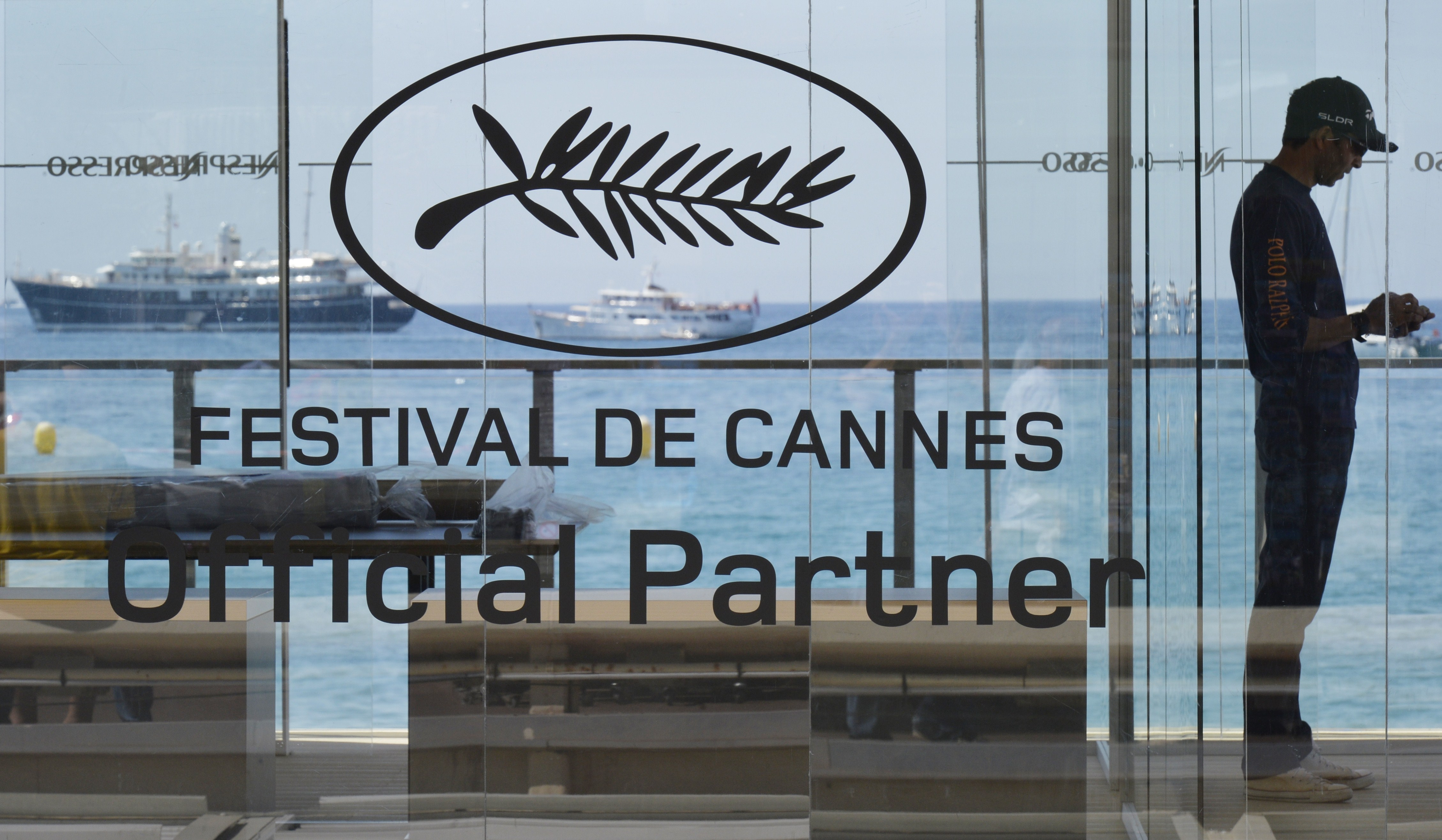 The logo of the festival on the eve of the 68th Cannes Film Festival in Cannes, southeastern France on May 12, 2015.