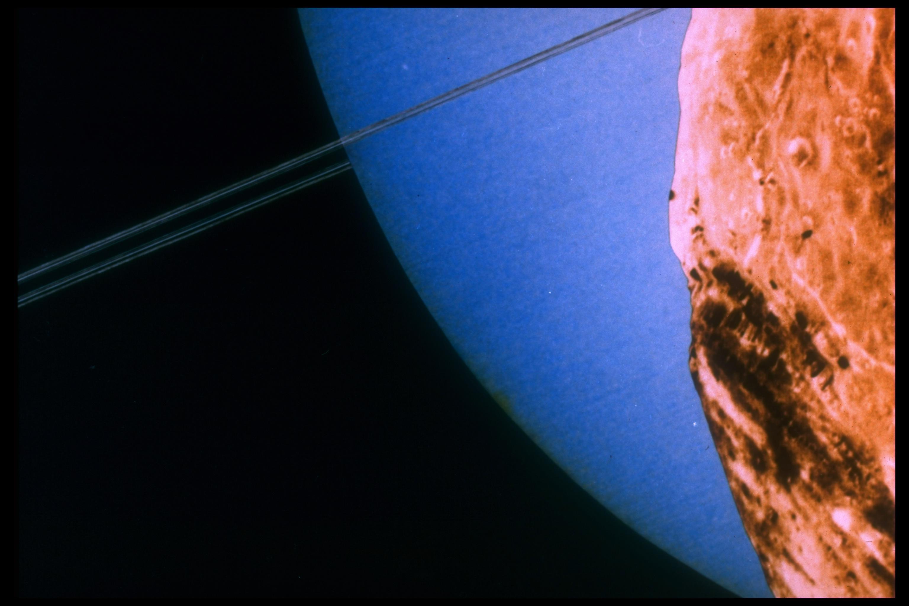 Uranus seen from its moon Miranda, as depicted by Voyager 2 spacecraft.