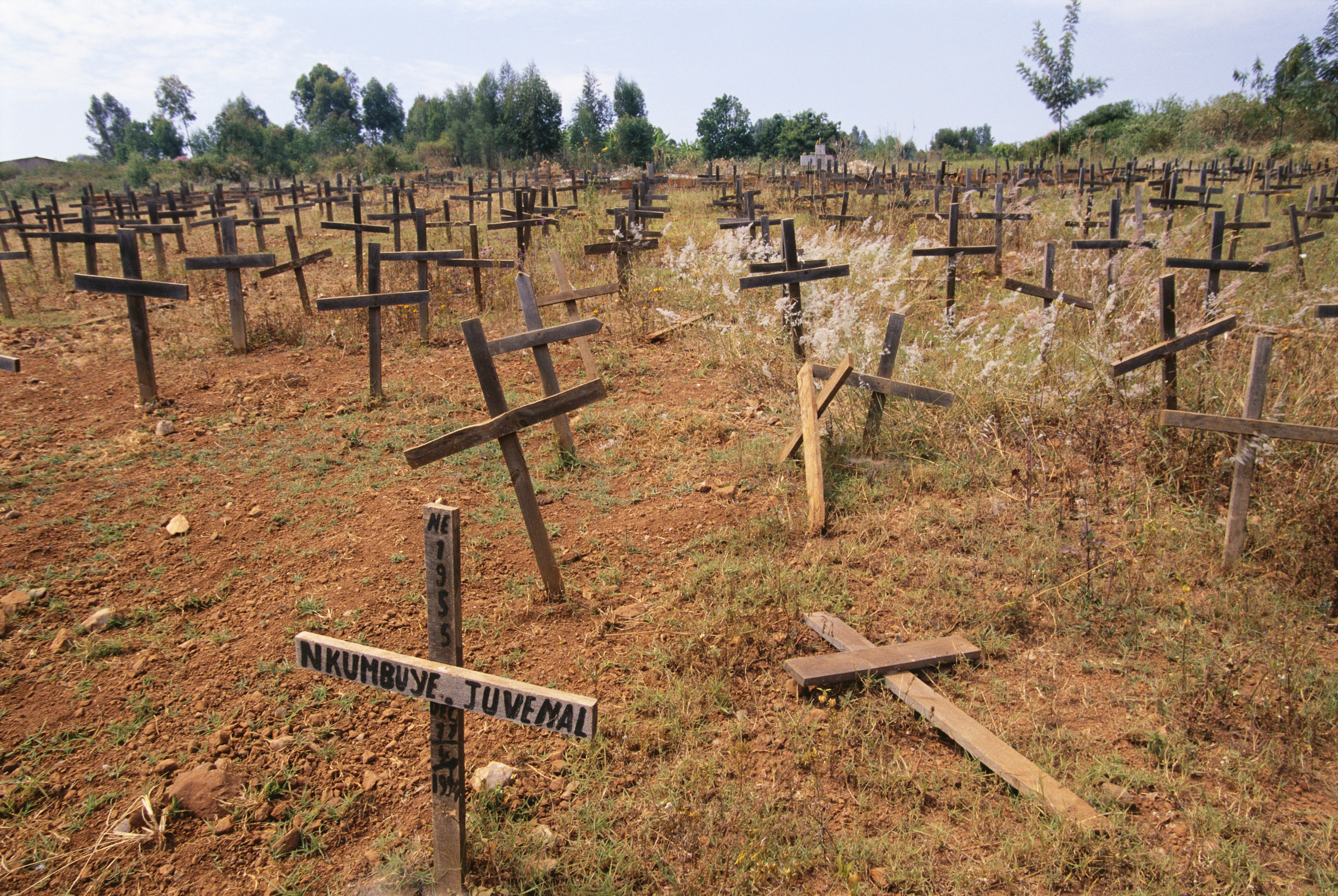 Crosses mark a mass grave site of the victims of the April 11, 1994 massacre of thousands of refugees at a technical institute in Kigali's Kicukiro District.