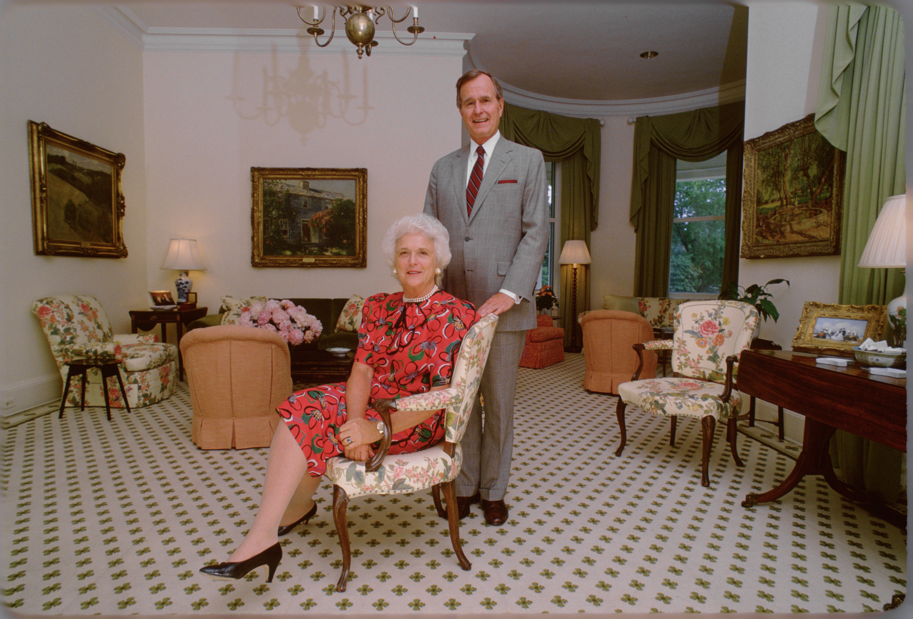 George H.W. Bush and Barbara Bush at the Vice President's residence circa 1983 in in Washington, DC.