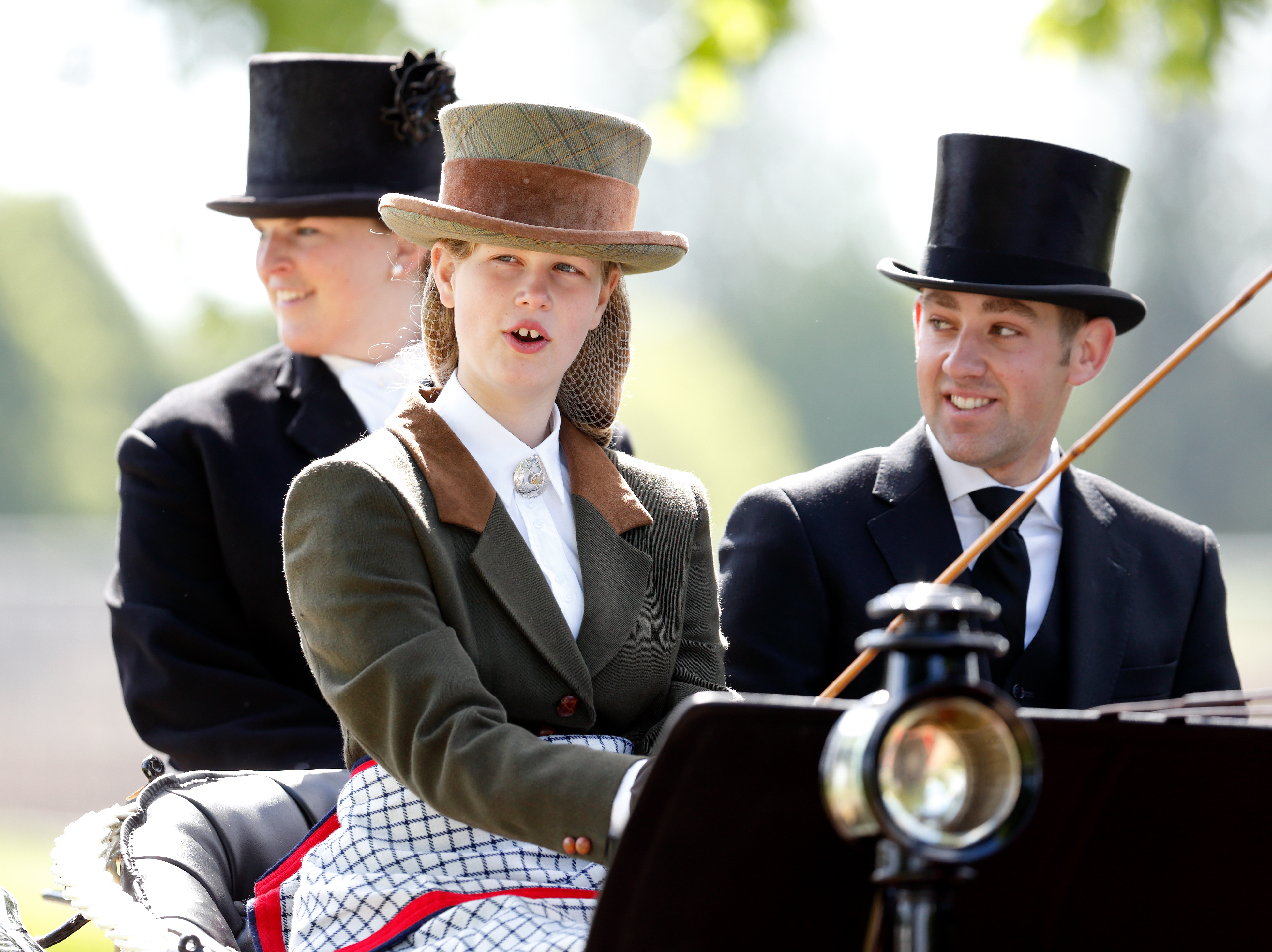 Lady Louise Windsor seen carriage driving as she takes part in The Champagne Laurent-Perrier Meet of the British Driving Society on day 5 of the Royal Windsor Horse Show in Home Park on May 14, 2017 in Windsor, England.