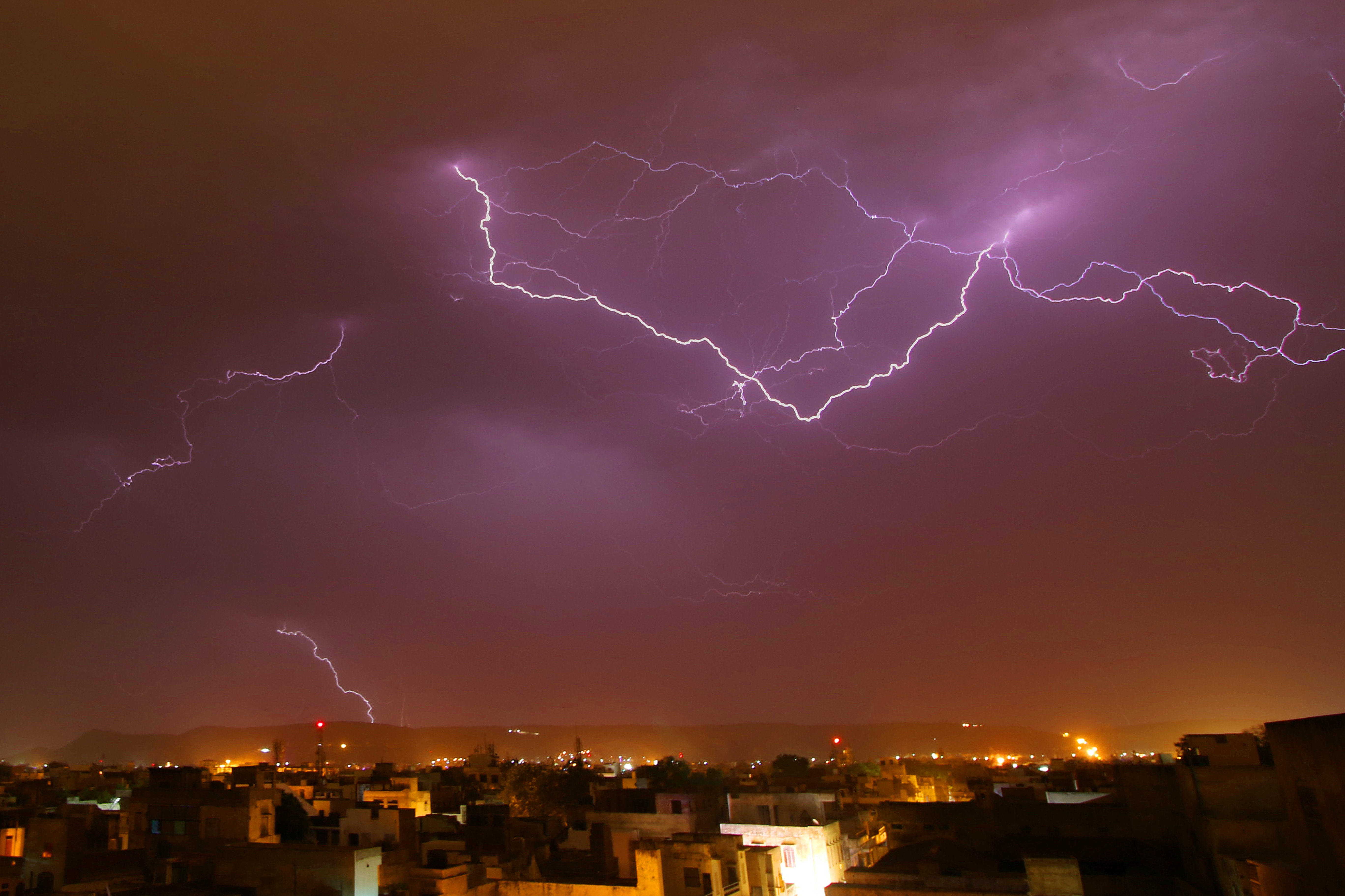 A view of thunder lightning strikes in Jaipur, India on 19 May, 2017.  An  extreme  storm in the state of Andhra Pradesh on April 24, 2018 included over 36,000 lightning strikes.