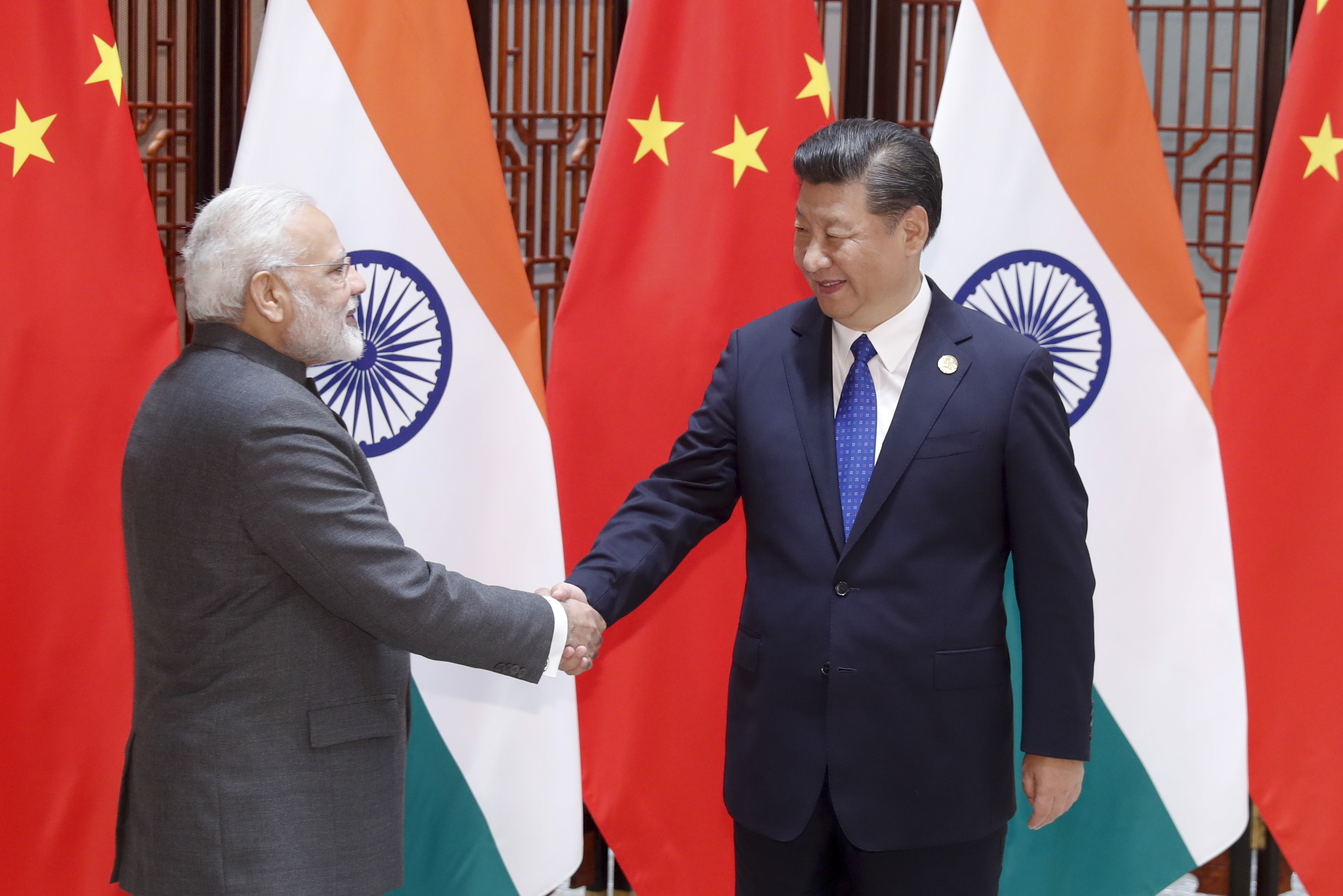 Chinese President Xi Jinping meets with Indian Prime Minister Narendra Modi on September 5, 2017 in Xiamen, Fujian Province of China.