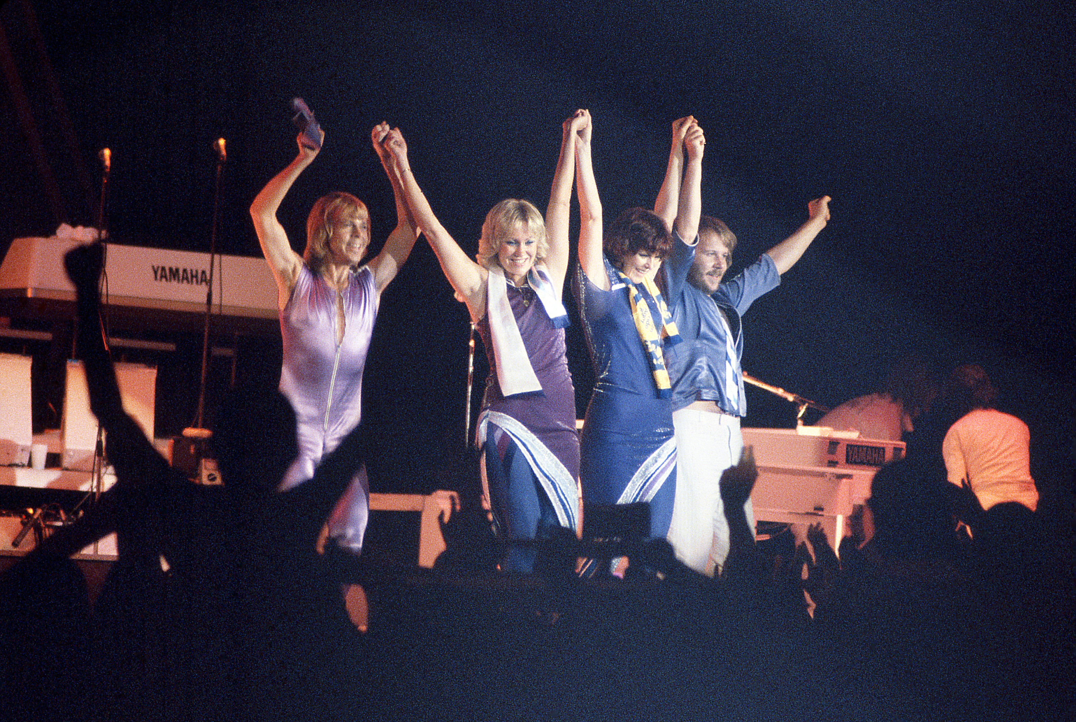 Unspecified: (L-R) Björn Ulvaeus, Agnetha Fältskog, Anni-Frid Lyngstad, Benny Andersson of ABBA performing. (Photo by ABC via Getty Images)