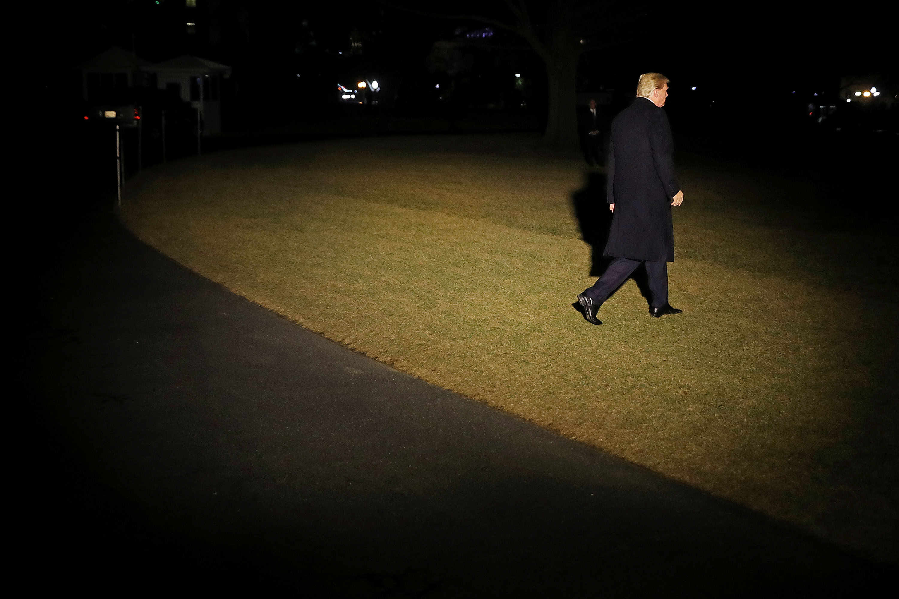 U.S. President Donald Trump leaves the White House for the World Economic Forum in Davos, Switzerland, Jan. 24, 2018 in Washington, D.C.