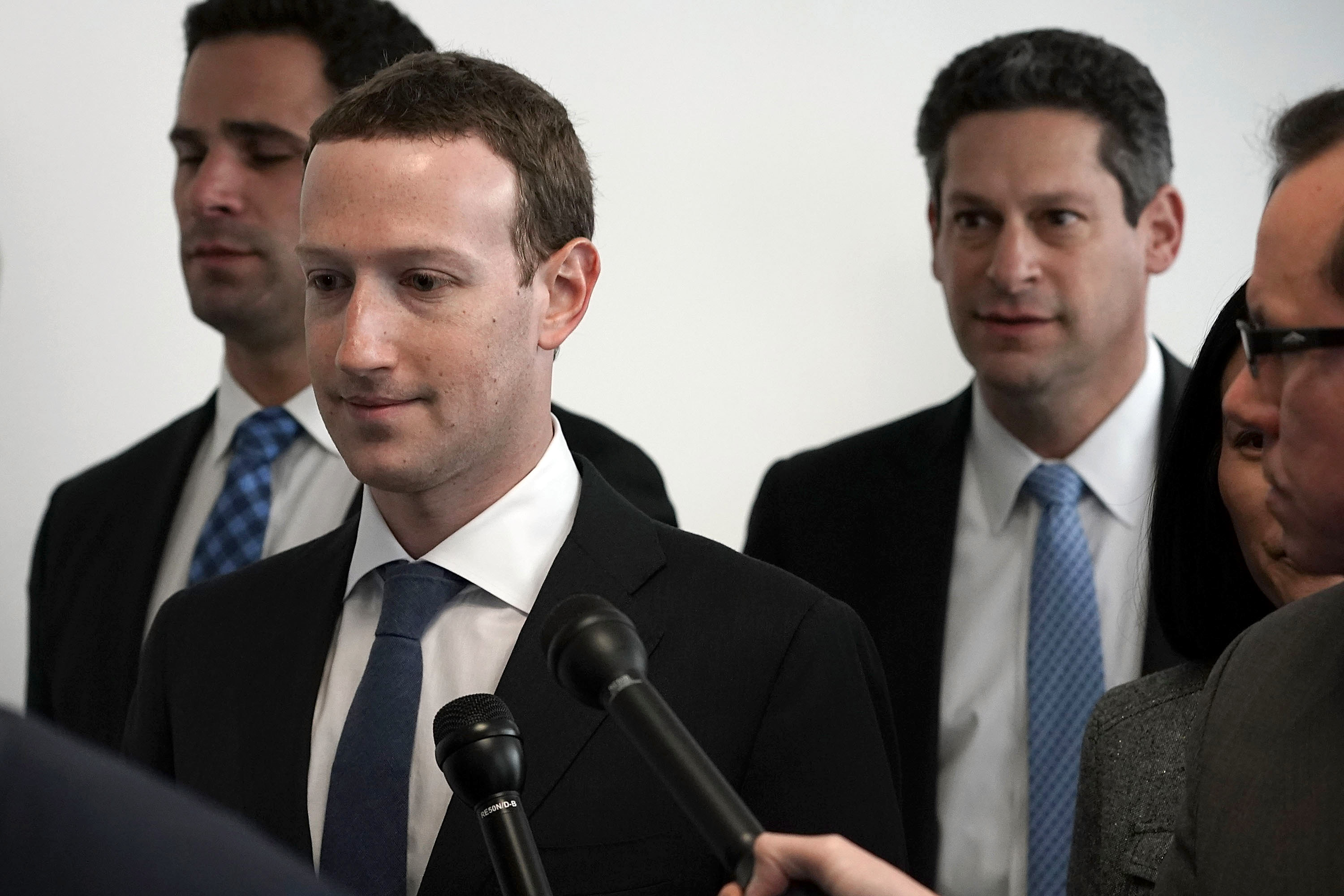 Facebook CEO Mark Zuckerberg (2 L) arrives at a meeting with U.S. Sen. Bill Nelson (D-FL), ranking member of the Senate Committee on Commerce, Science, and Transportation, April 9, 2018 on Capitol Hill in Washington, DC.
