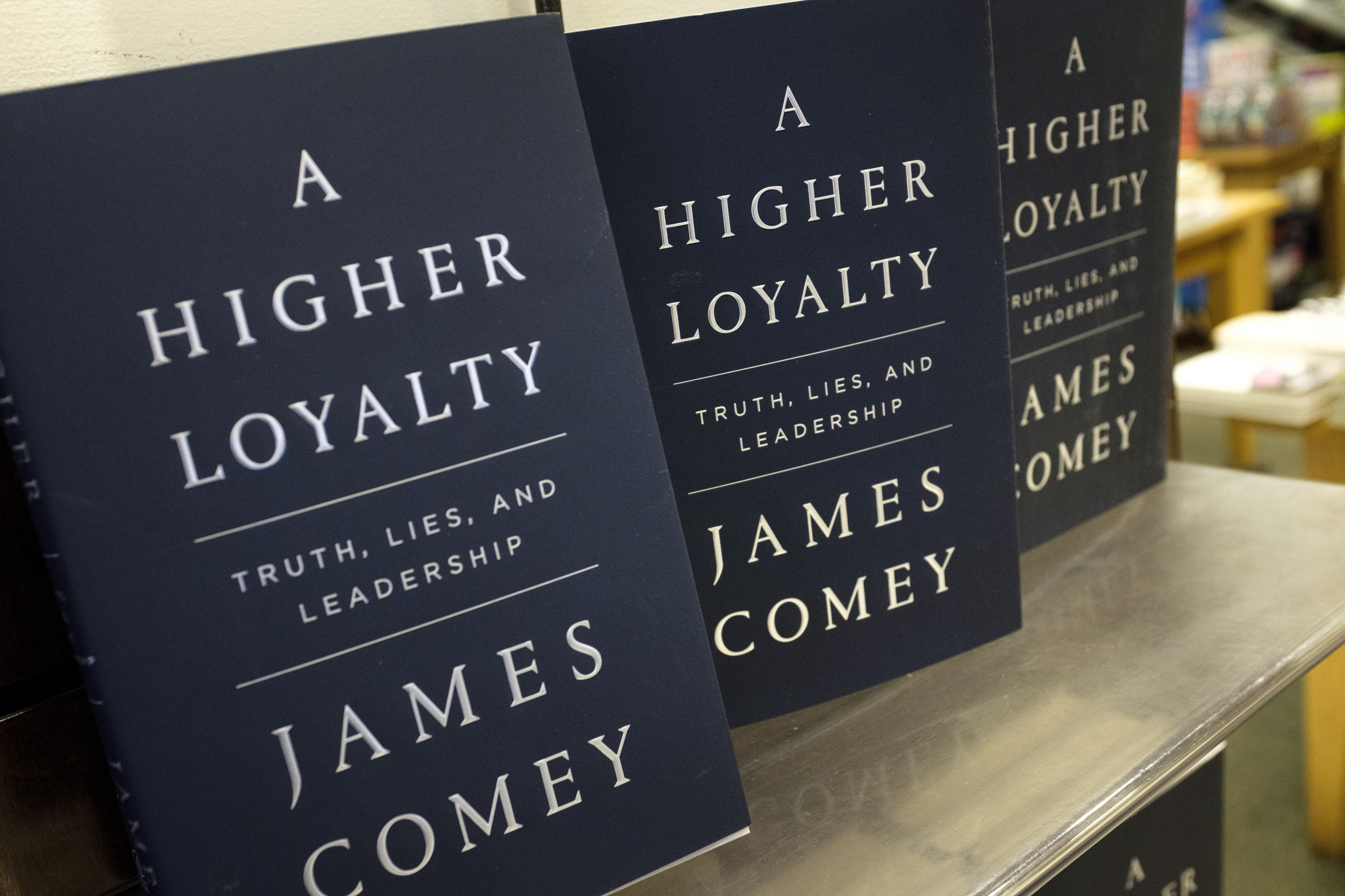 Copies of 'A Higher Loyalty: Truth, Lies, and Leadership,' by former FBI Director James Comey, April 17, 2018 in New York City.