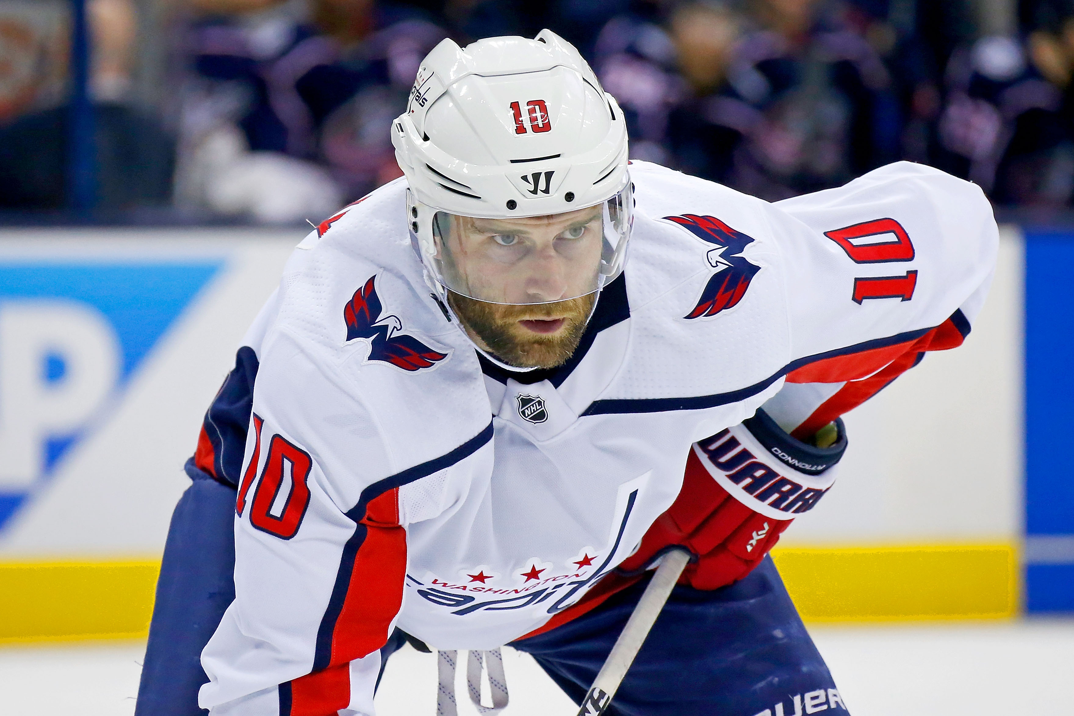 COLUMBUS, OH - APRIL 17:  Brett Connolly #10 of the Washington Capitals lines up for a face-off in Game Three of the Eastern Conference First Round during the 2018 NHL Stanley Cup Playoffs against the Columbus Blue Jackets on April 17, 2018 at Nationwide Arena in Columbus, Ohio. (Photo by Kirk Irwin/Getty Images) *** Local Caption *** Brett Connolly