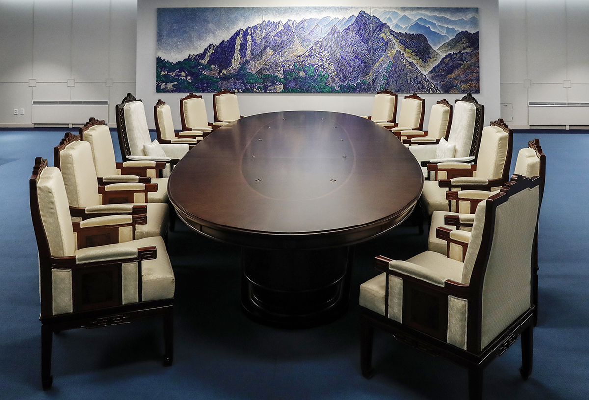 The Inter Korean Summit meeting room is seen at the Peace House on April 25, 2018 in Panmunjom, South Korea.