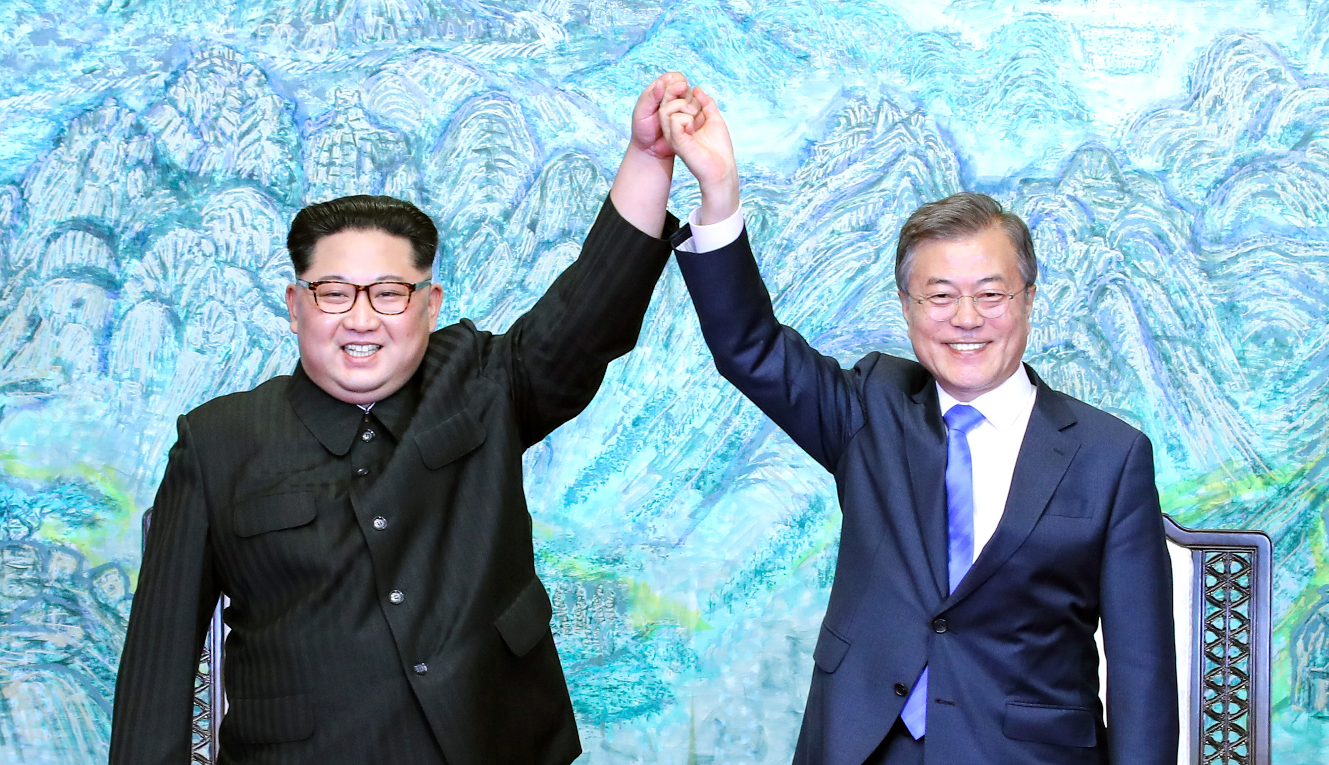 North Korean leader Kim Jong Un and South Korean President Moon Jae-in during the Inter-Korean Summit at the Peace House on April 27, 2018 in Panmunjom, South Korea.