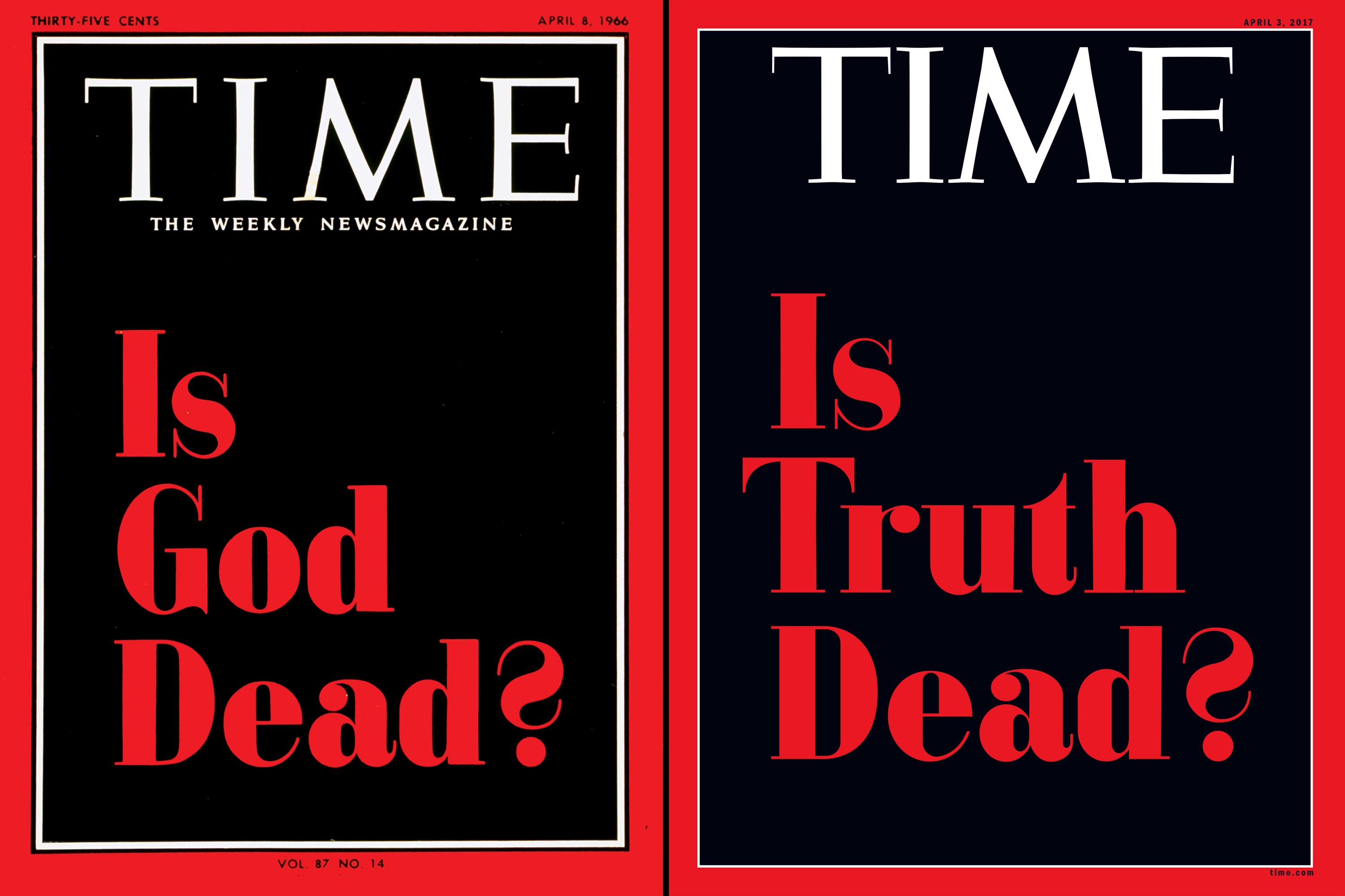 Is God Dead?,  April 8, 1966;  Is Truth Dead?,  April 3, 2017