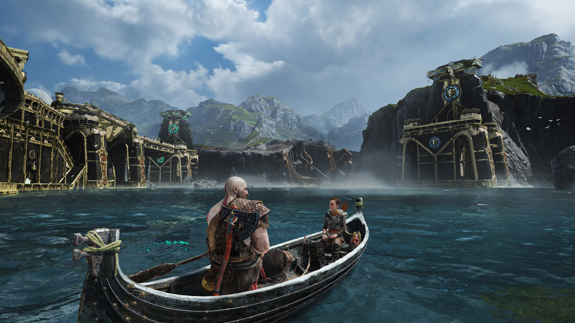 A scene from the new God of War game