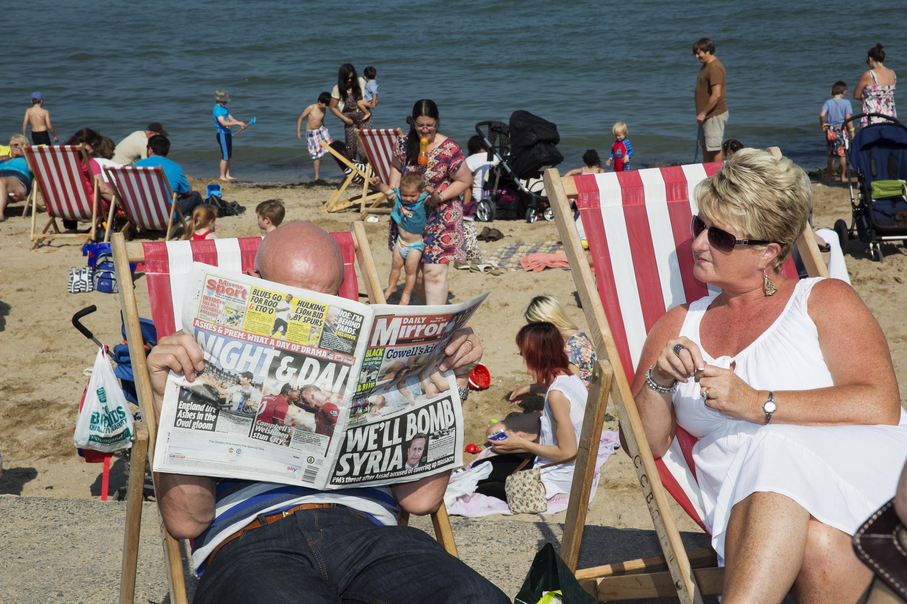A beach scene on a Bank Holiday in Llandudno, Wales, 2013.