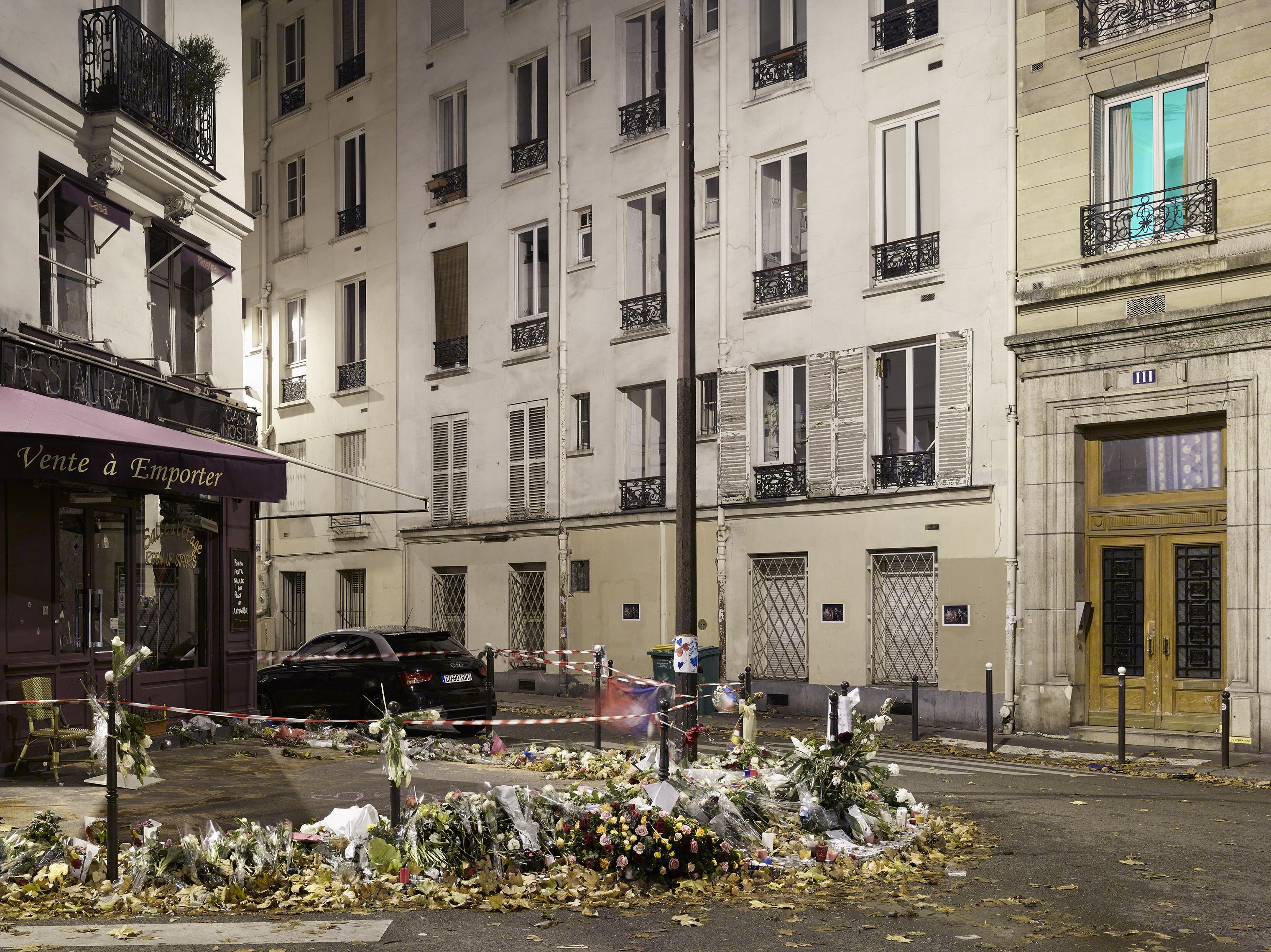 A memorial on the Rue de la Fontaine-au-Roi, in the aftermath of the terror attacks, in Paris on Nov. 18, 2015.