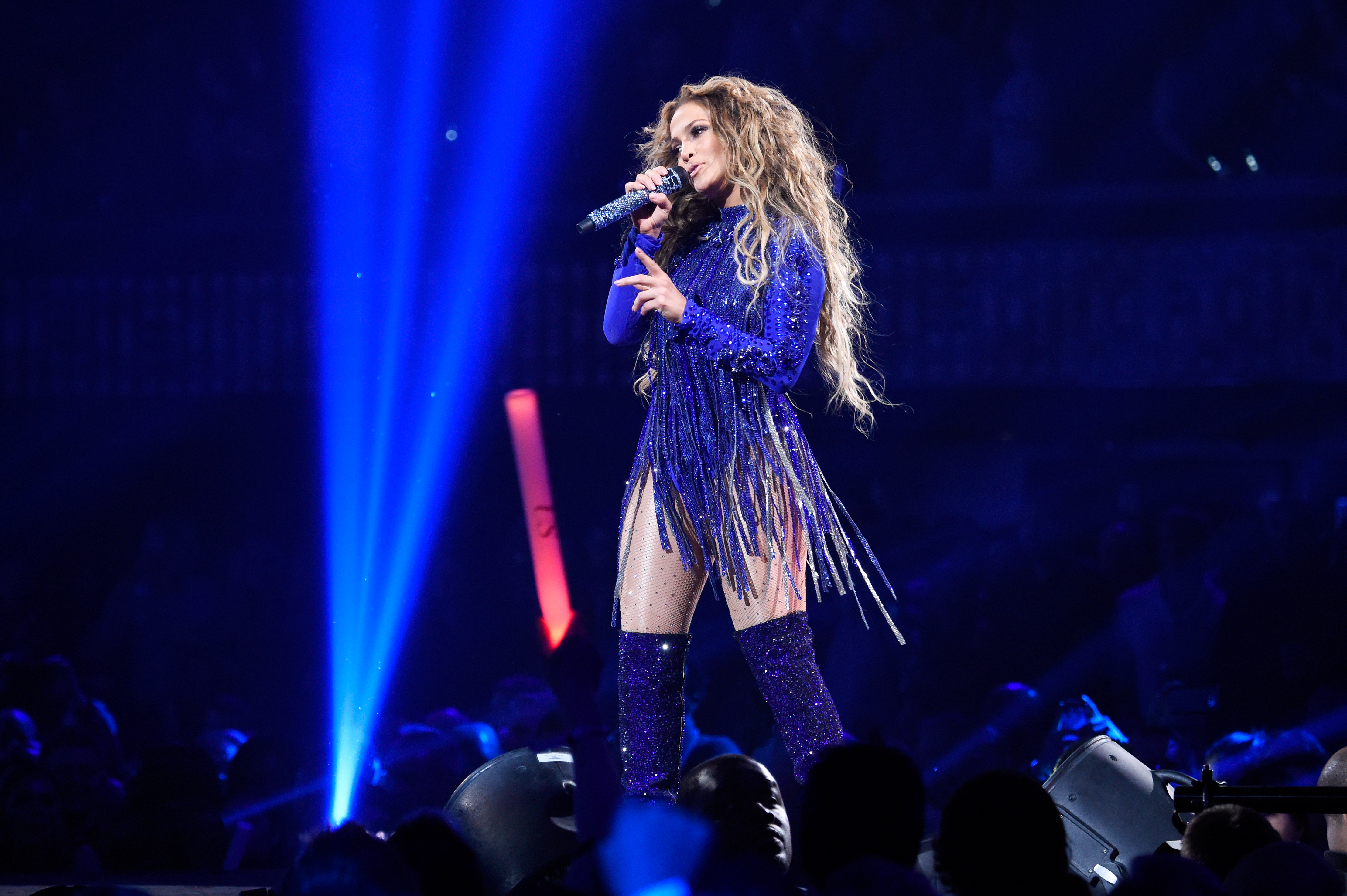 Jennifer Lopez performs onstage during the 2018 DIRECTV NOW Super Saturday Night Concert at NOMADIC LIVE! at The Armory on Feb. 3, 2018 in Minneapolis, Minnesota.