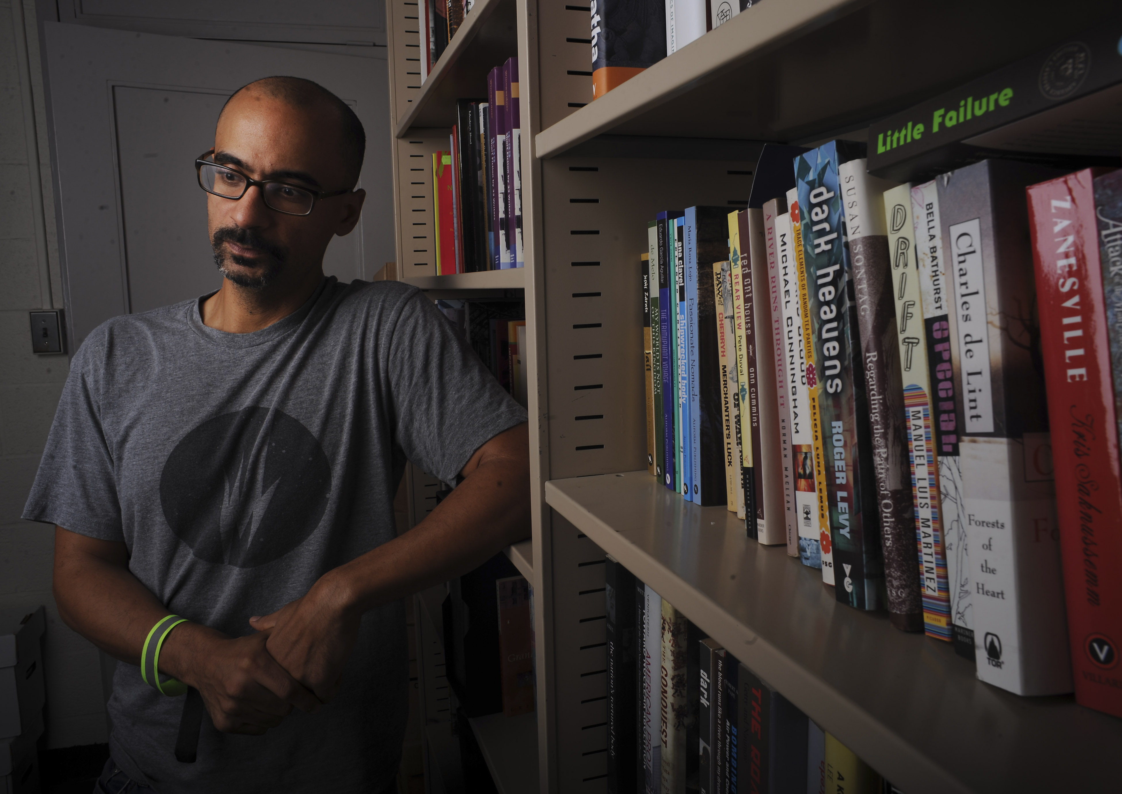 Pulitzer Prize writer Junot Diaz was photographed at his MIT office on September 12, 2013.