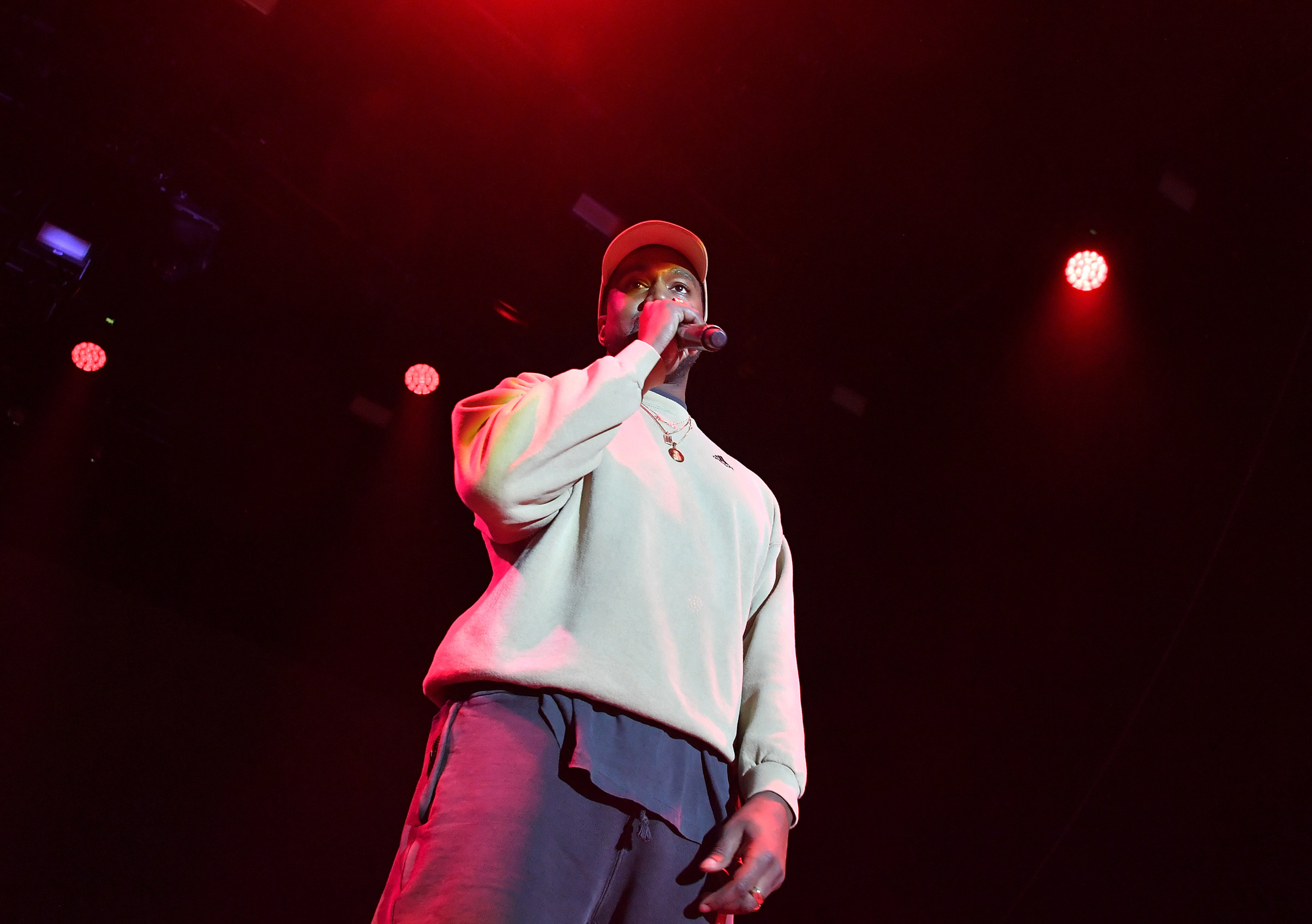 Kanye West onstage at an event for Adidas in Los Angeles on Feb. 17, 2018.