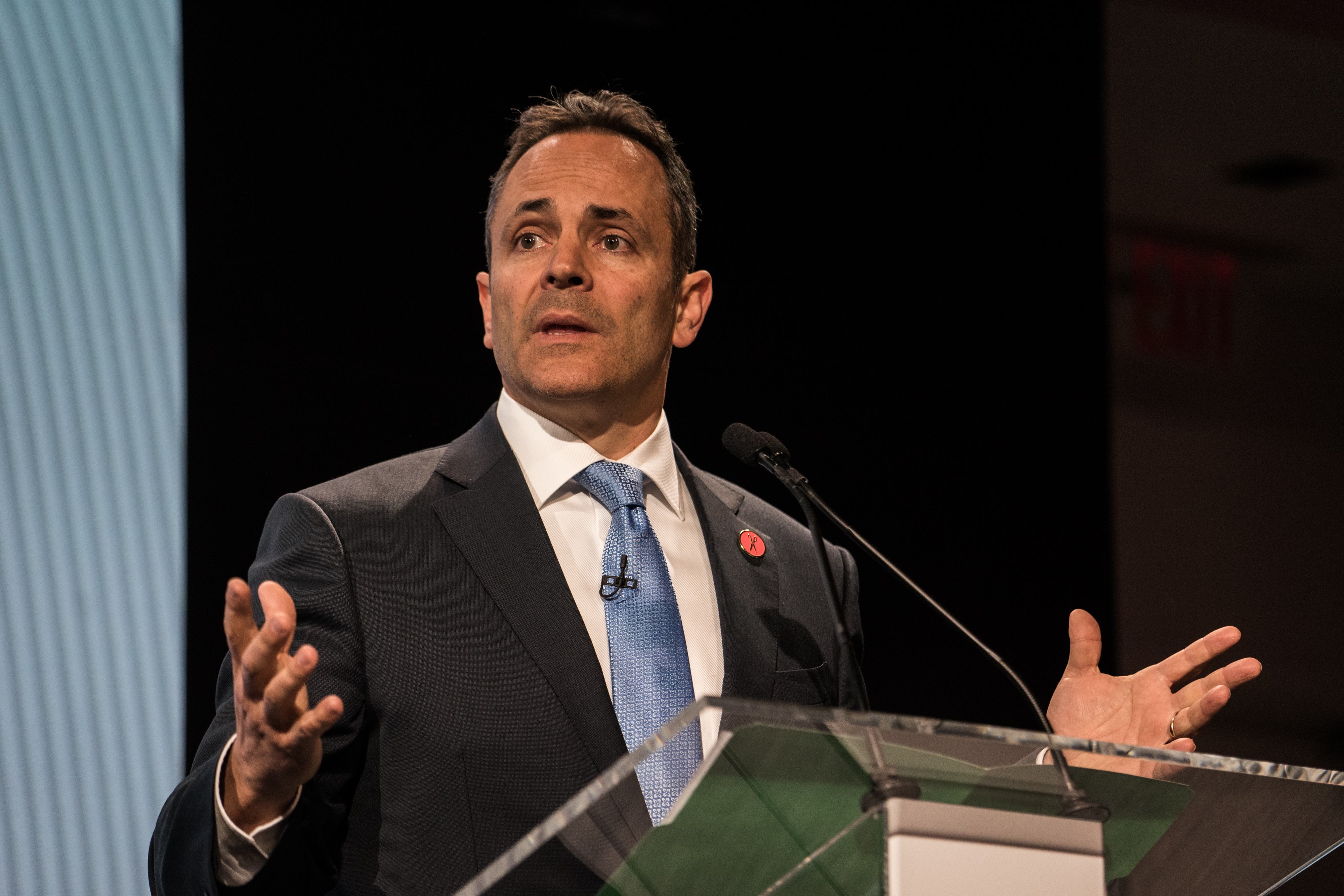 Matt Bevin, governor of Kentucky, speaks during the 2017 International Finance and Infrastructure Cooperation Forum in New York, U.S., on Monday, April 24, 2017. The forum brings together U.S. and Chinese government officials and global business executives from Fortune 500 companies.