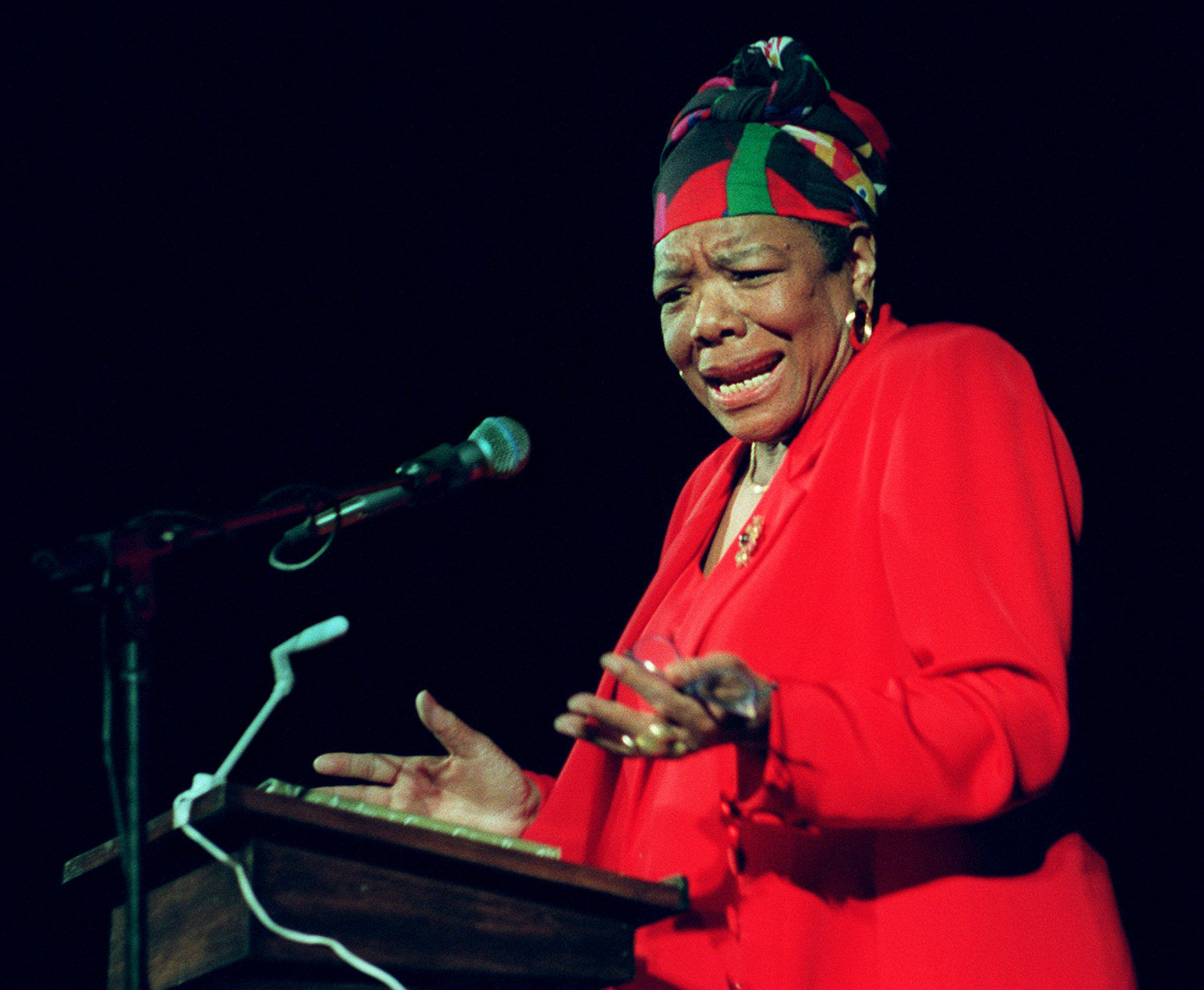 Maya Angelou reads poetry to Tufts University students at the Somerville Theatre in Somerville, Mass. on April 28, 1997.
