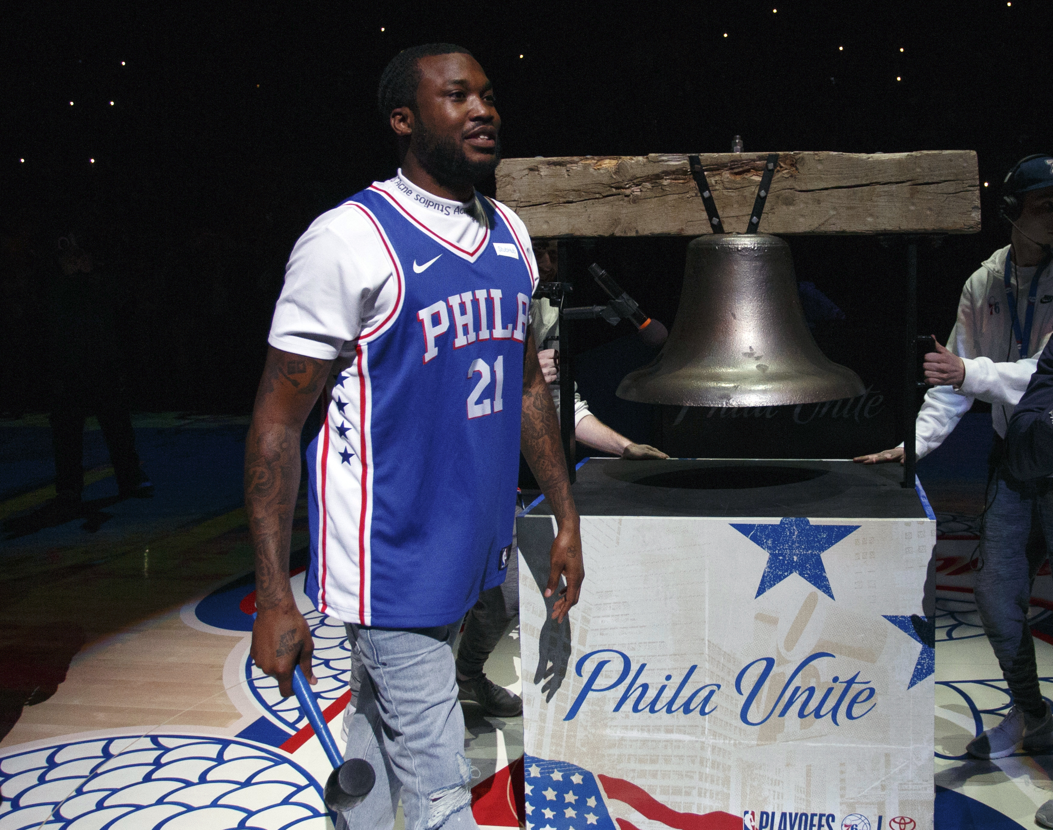 Rapper Meek Mill before Game 5 of the 76ers' first-round series in Philadelphia on Apr. 24, 2018, in Philadelphia