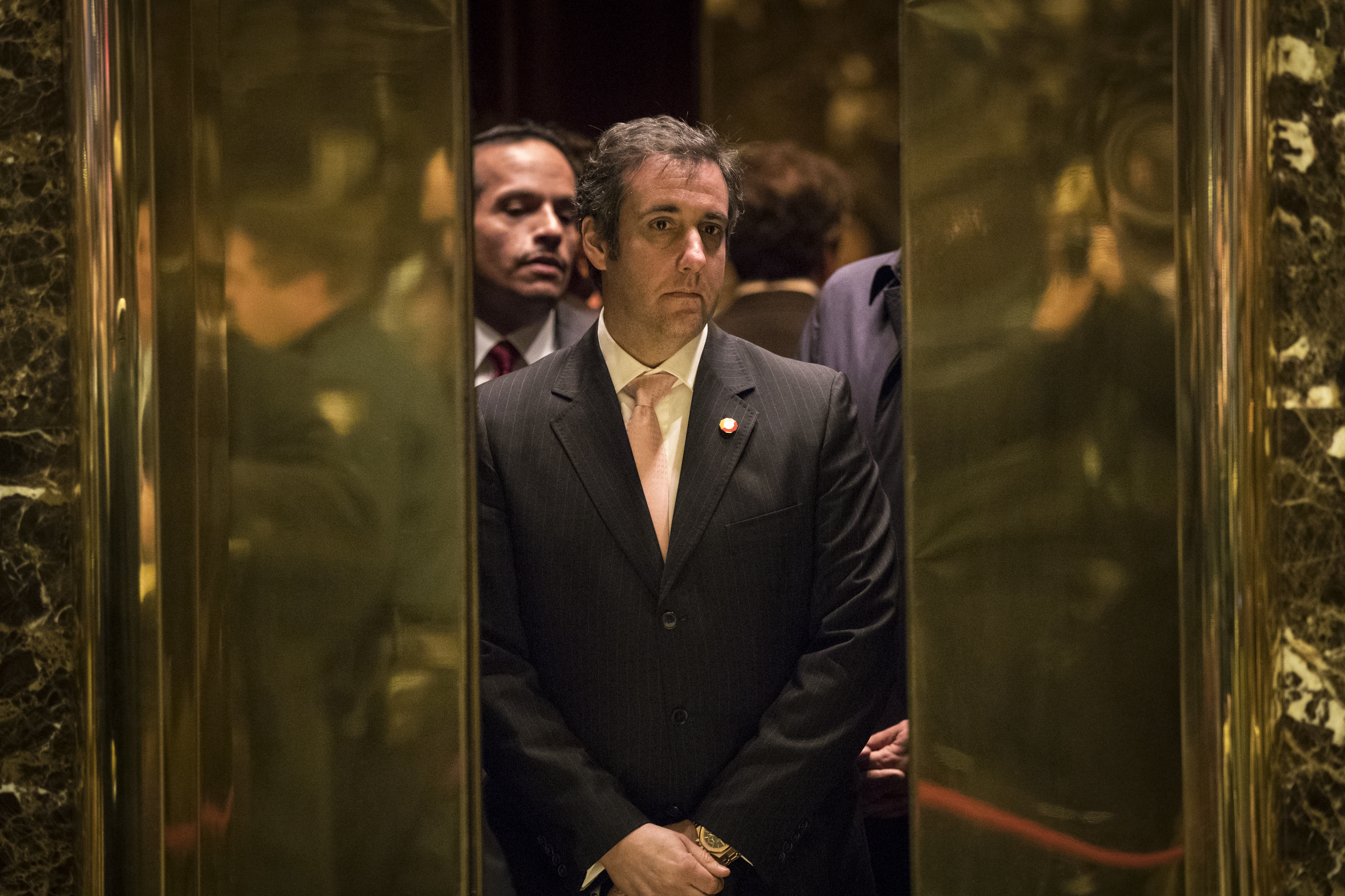 Michael Cohen, personal lawyer for President-elect Donald Trump, gets into an elevator at Trump Tower, Dec 12, 2016 in New York City. (Getty Images)