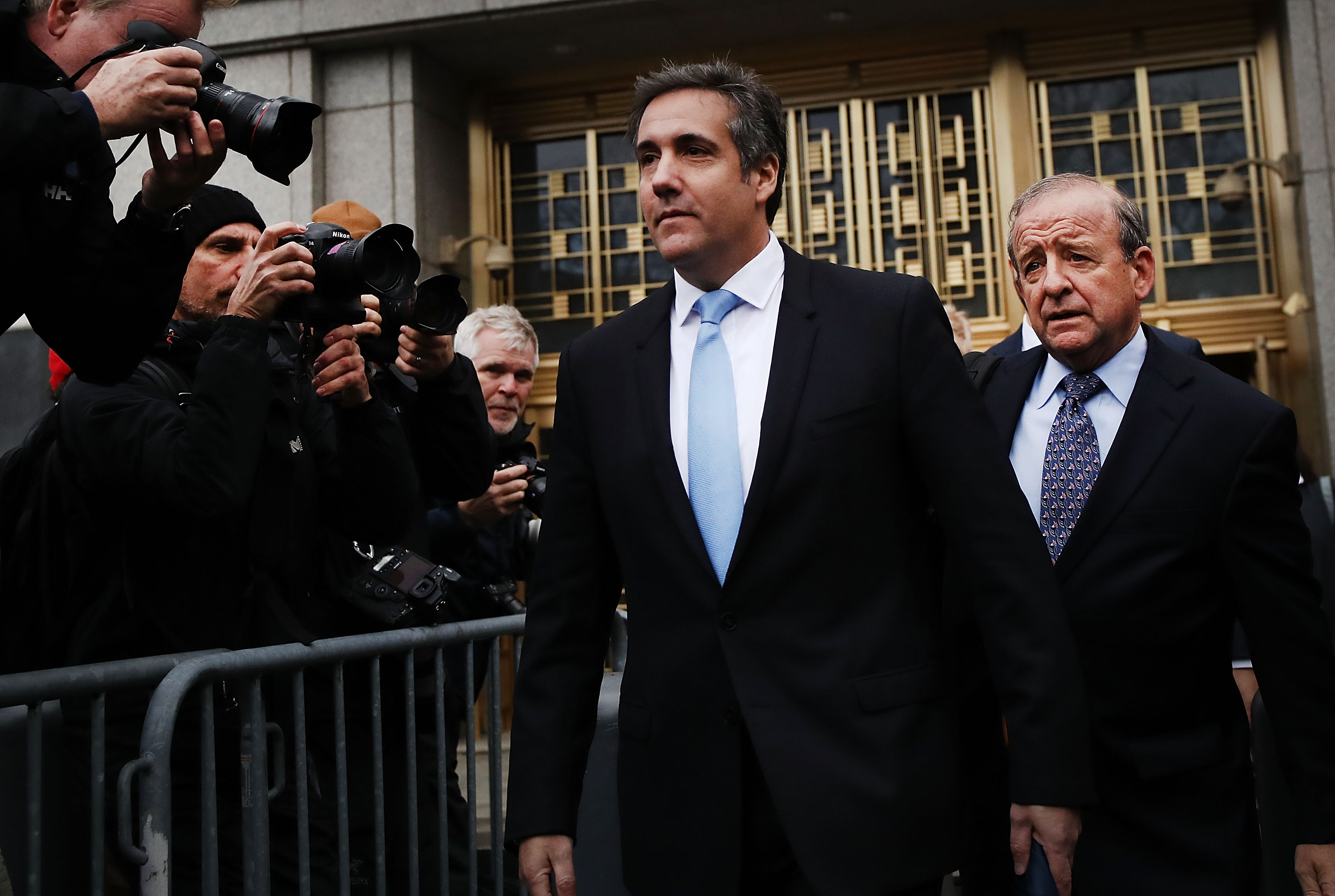 President Donald Trump's long-time personal attorney Michael Cohen exits a New York court on April 16, 2018 in New York City.