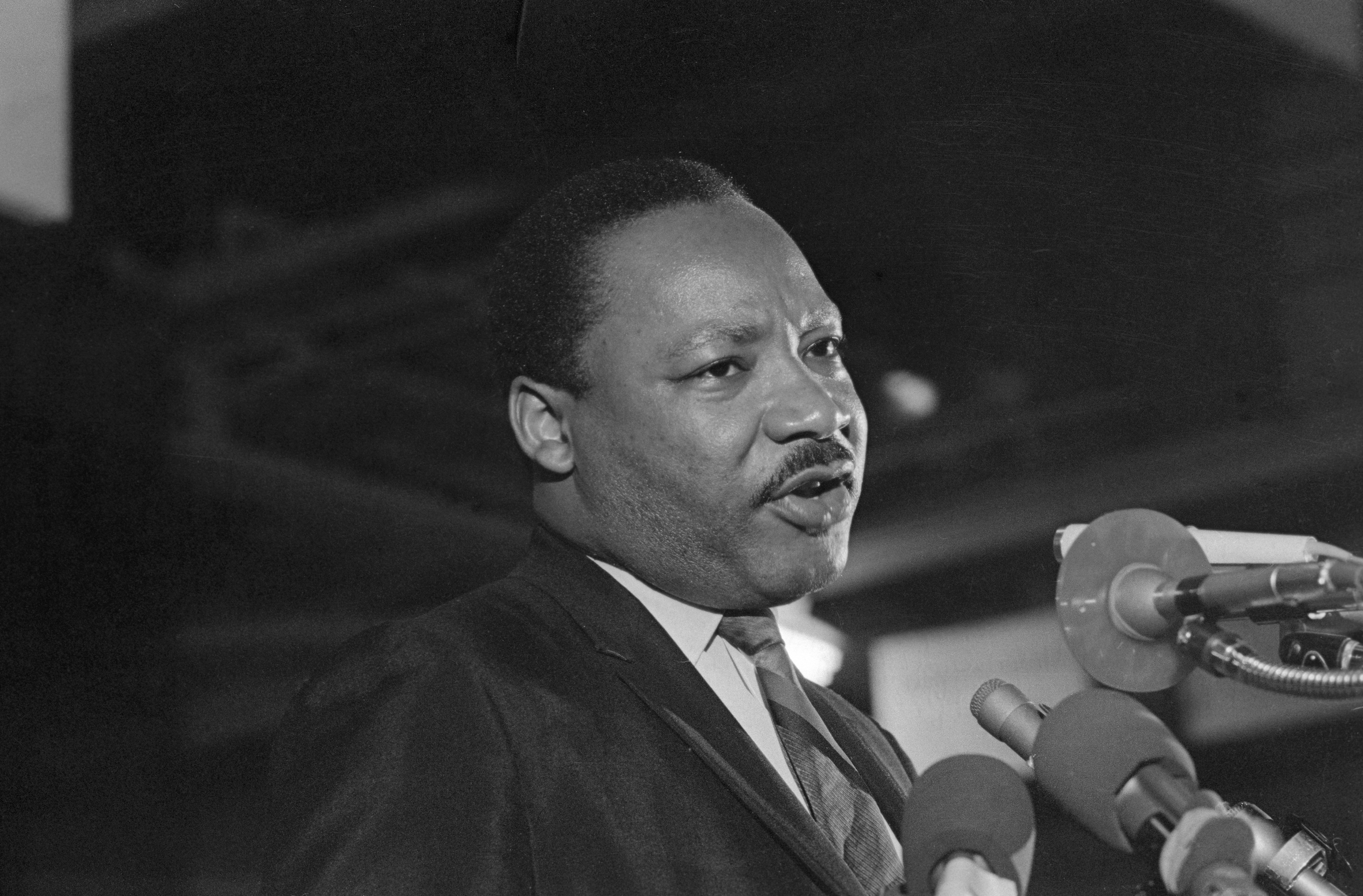 Dr. Martin Luther King addresses some 2,000 people on the eve of his death—April 3, 1968—giving the speech  I've been to the mountaintop.