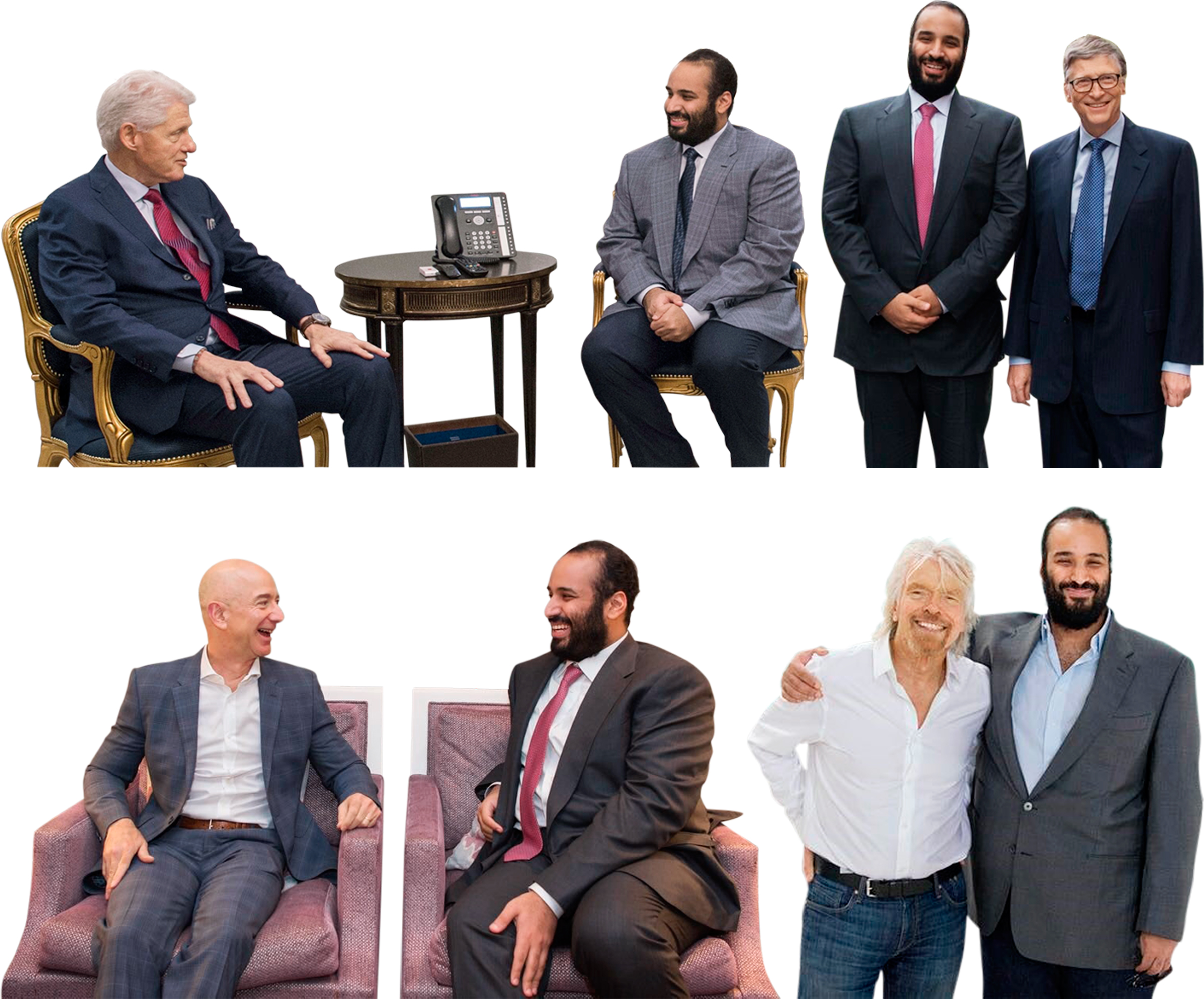Bin Salman meets with Bill Clinton in New York City, Bill Gates and Jeff Bezos in Seattle, and Richard Branson in the Mojave Desert, Calif.
