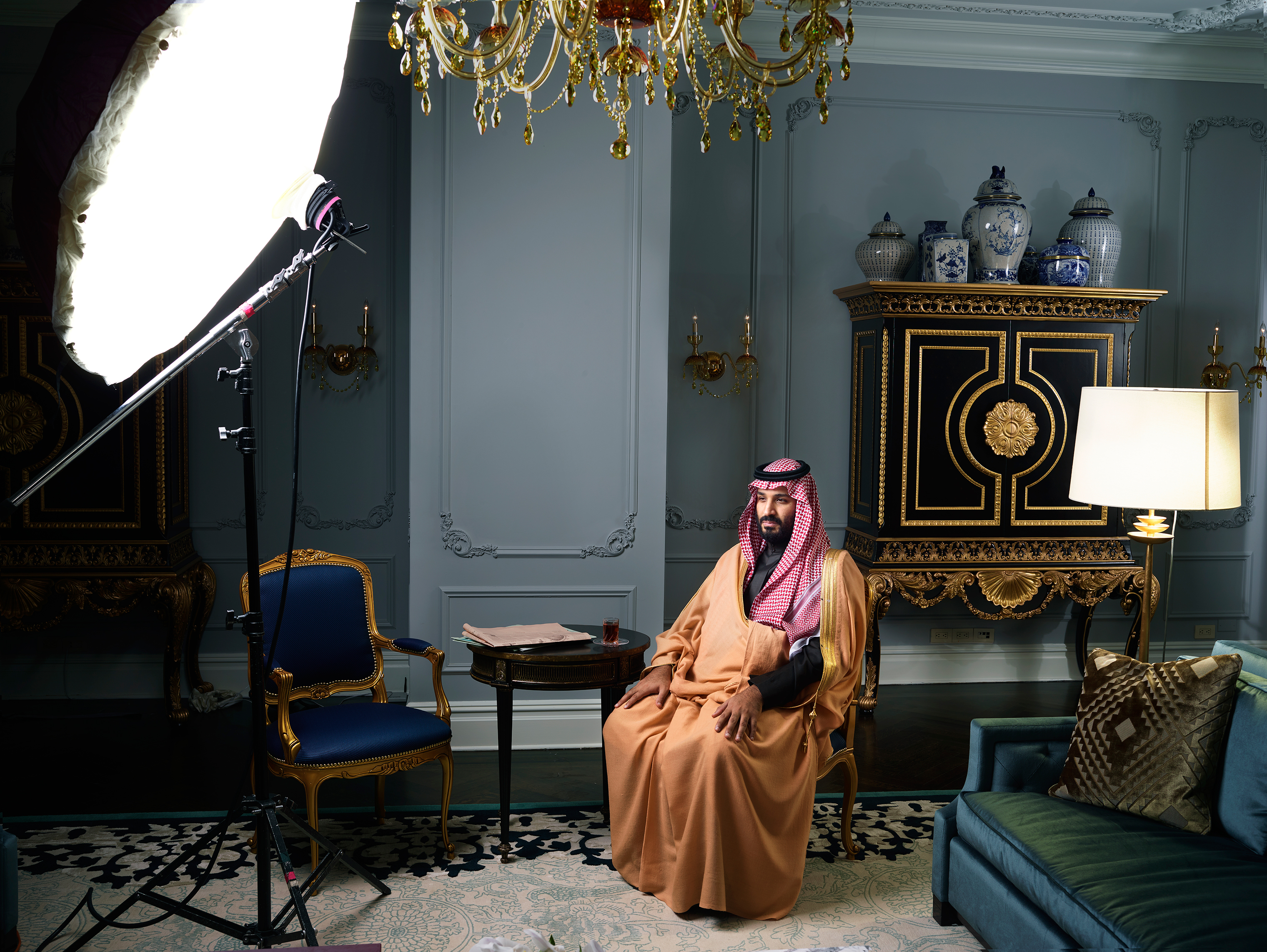 Crown Prince Mohammed bin Salman photographed at New York City's Plaza Hotel on March 29, 2018.