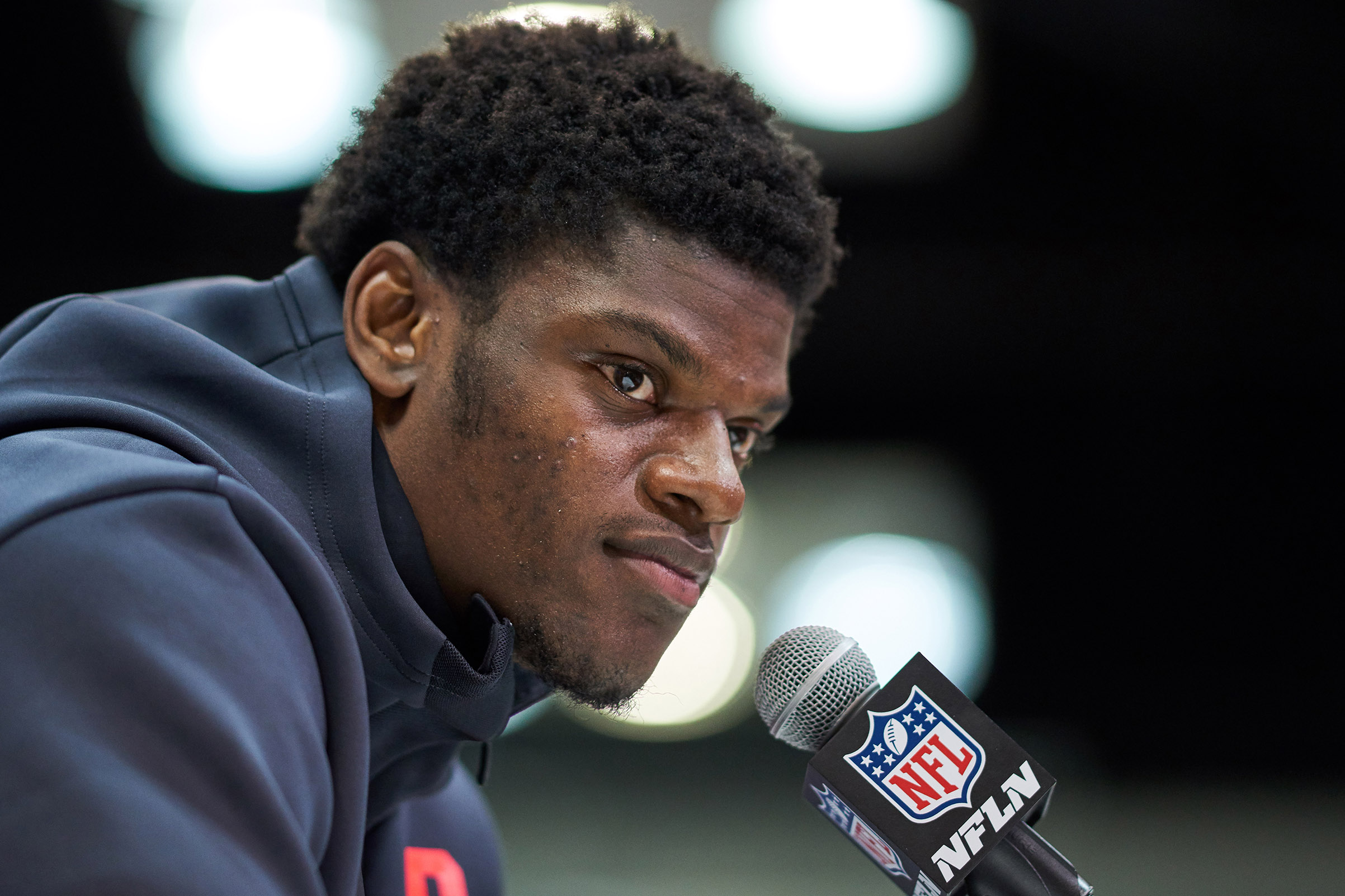 Louisville quarterback Lamar Jackson answers questions from the media during the NFL Scouting Combine on March 02, 2018 at Lucas Oil Stadium in Indianapolis, IN.