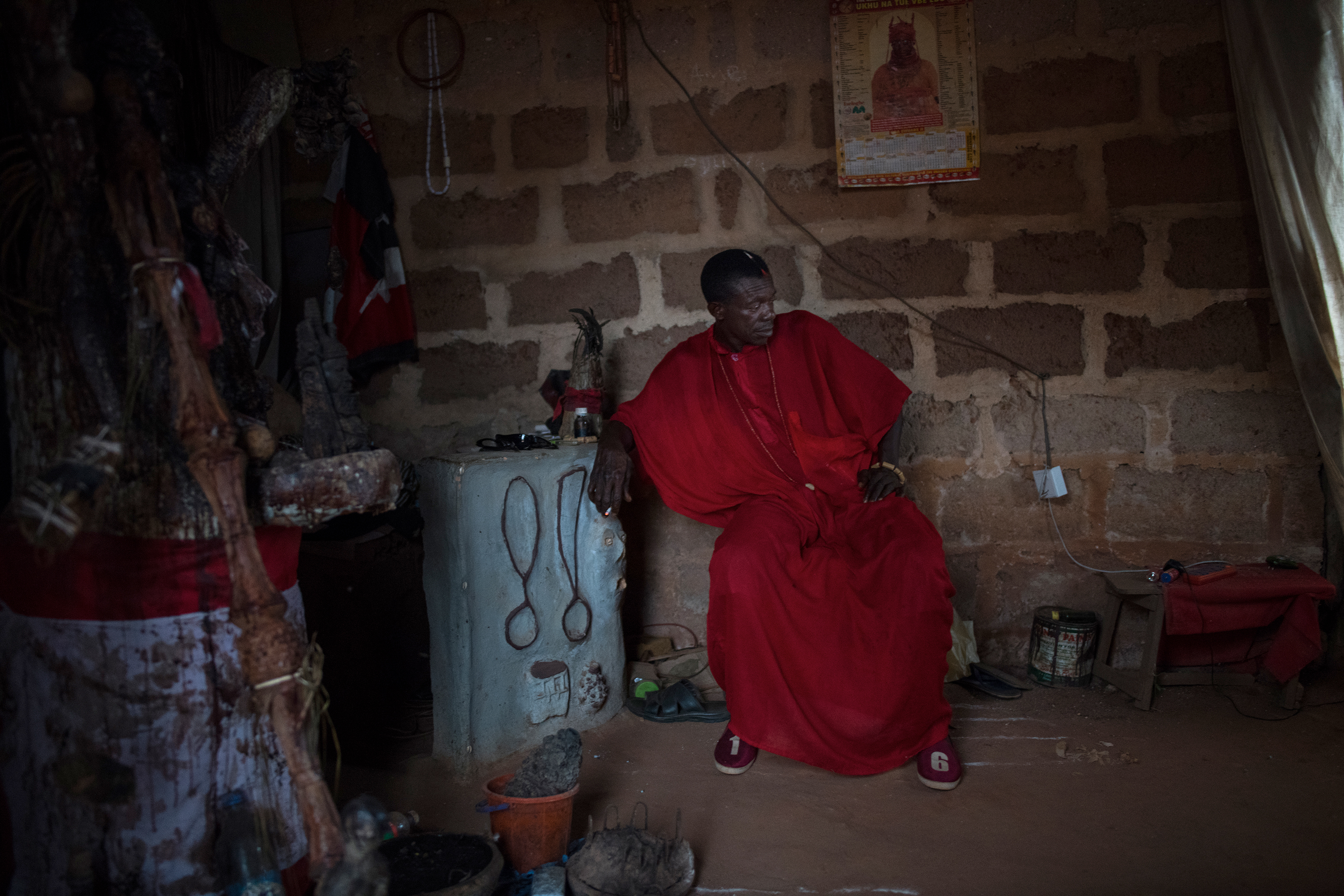 Eziza, a juju priest, near his shrine outside Benin City on March 23.