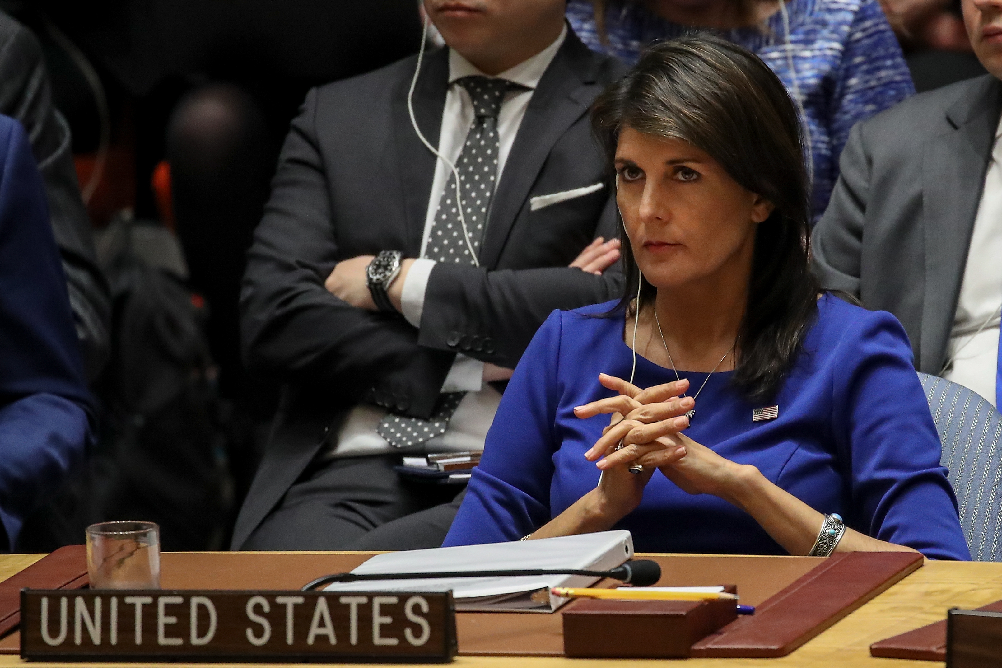United States Ambassador to the United Nations Nikki Haley listens during a United Nations Security Council emergency meeting concerning the situation in Syria, at United Nations headquarters on April 14, 2018 in New York City.