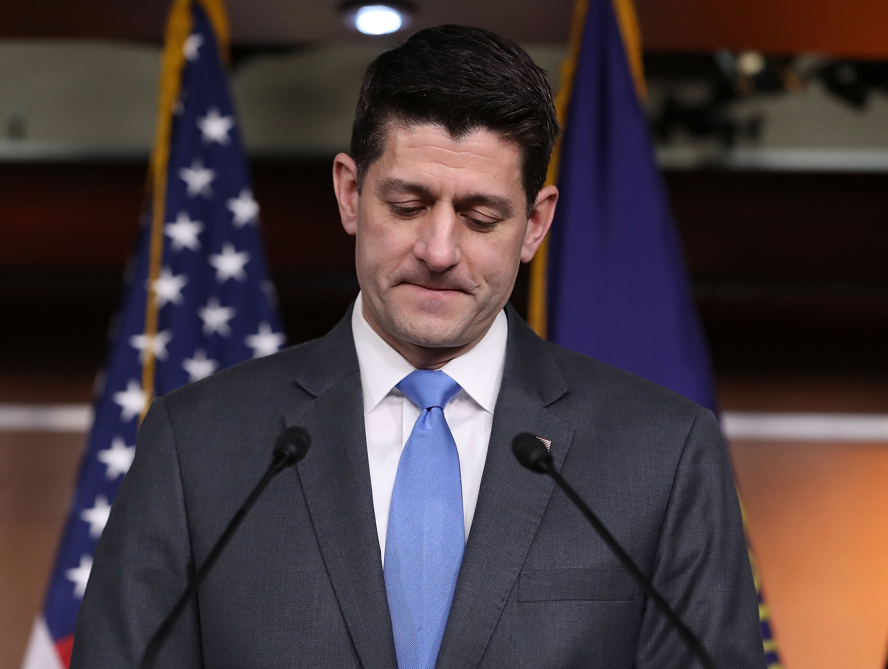 House Speaker Paul Ryan (R-WI), announces he will not seek re-election for another term in Congress, during a news conference at the US. Capitol, on April 11, 2018 in Washington, DC. Paul Ryan plans to serve out the remainder of his term and retire in January, marking 20 years in Congress.