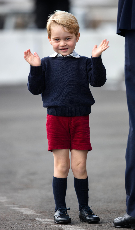 Prince George of Cambridge departs Victoria on October 1, 2016 in Victoria, Canada.