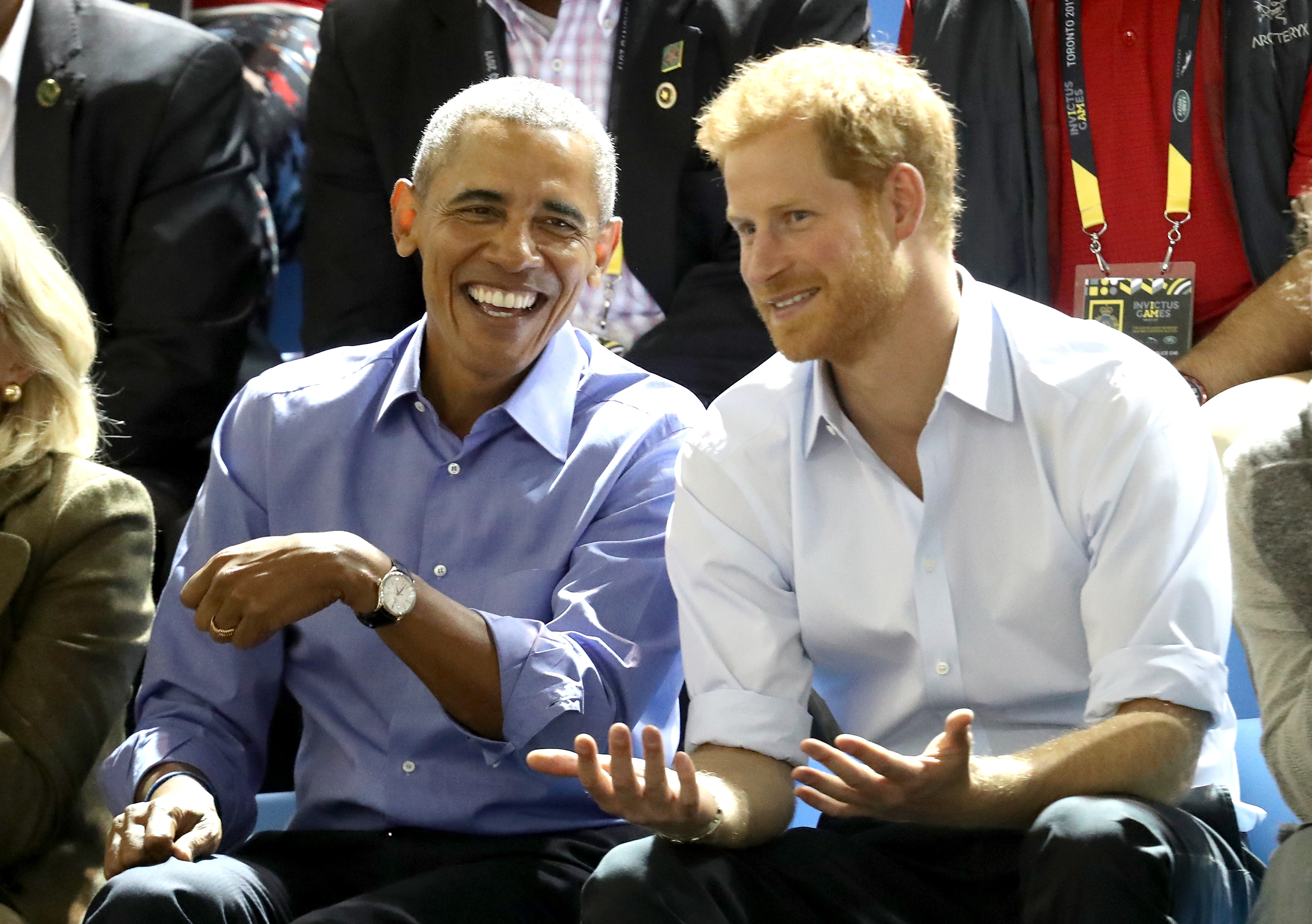 Former U.S. President Barack Obama and Prince Harry on day 7 of the Invictus Games 2017 on September 29, 2017 in Toronto, Canada.