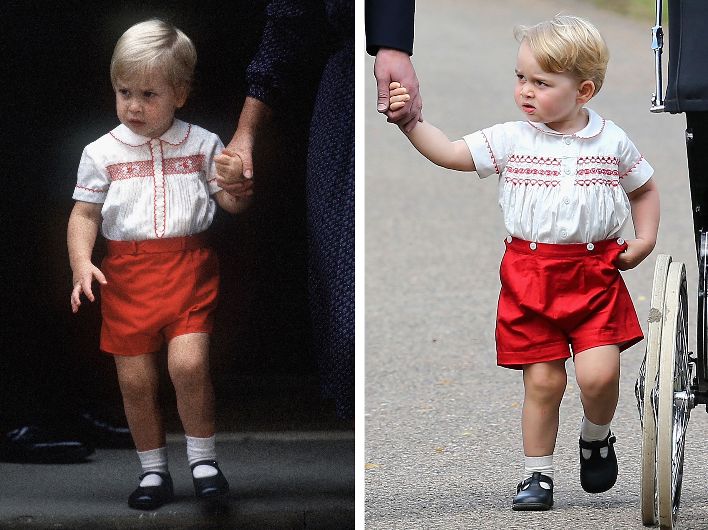 Prince William (L) and Prince George wearing similar clothing.