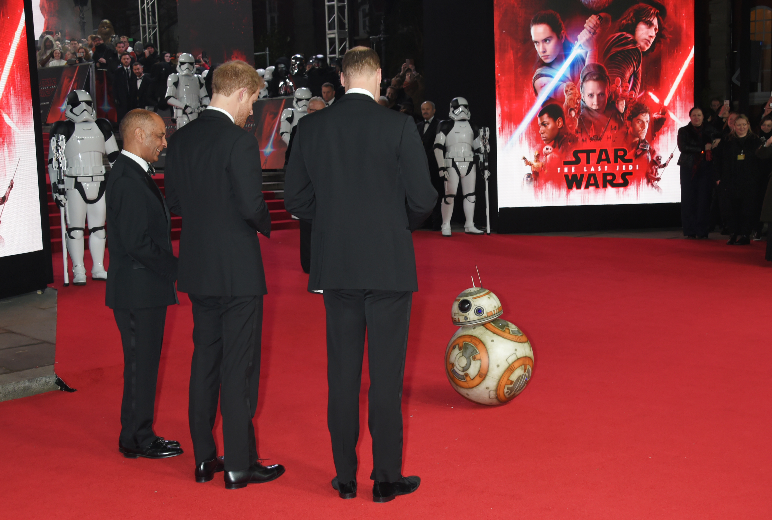 Prince William, Duke of Cambridge, and Prince Harry meet BB-8 at the European Premiere of  Star Wars: The Last Jedi  at the Royal Albert Hall on December 12, 2017 in London, England.
