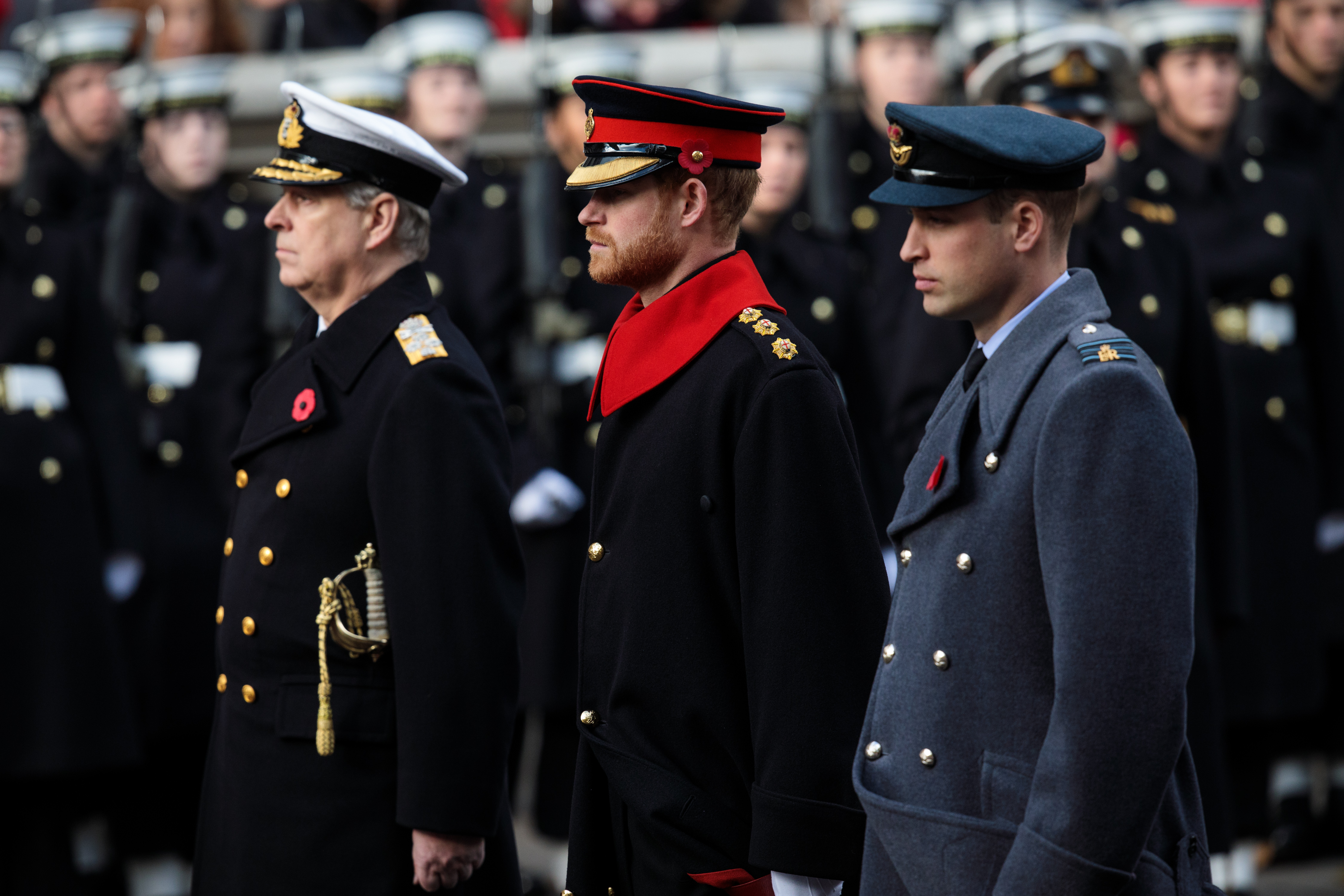 Prince Andrew, Duke of York, Prince Harry and Prince William, Duke of Cambridge attend the annual Remembrance Sunday memorial on November 12, 2017 in London, England.
