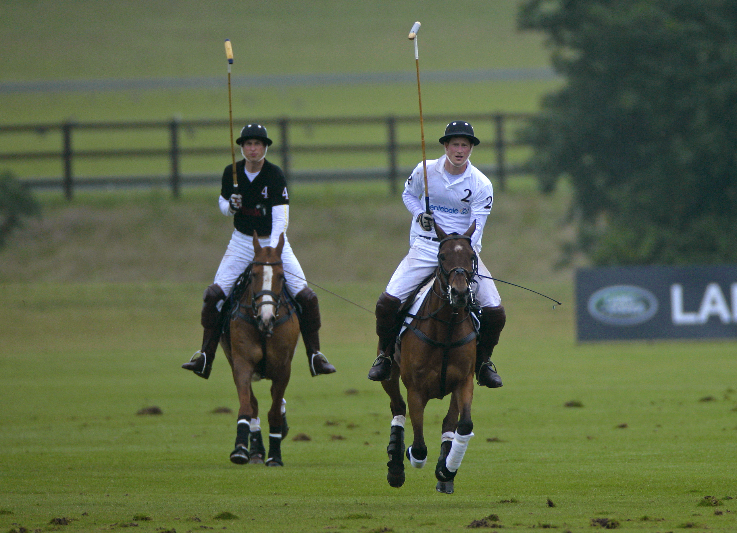 Prince William, Duke of Cambridge and Prince Harry play against each other in the Sentebale Polo Cup polo match at Coworth Park Polo Club on June 12, 2011 in Ascot, United Kingdom.