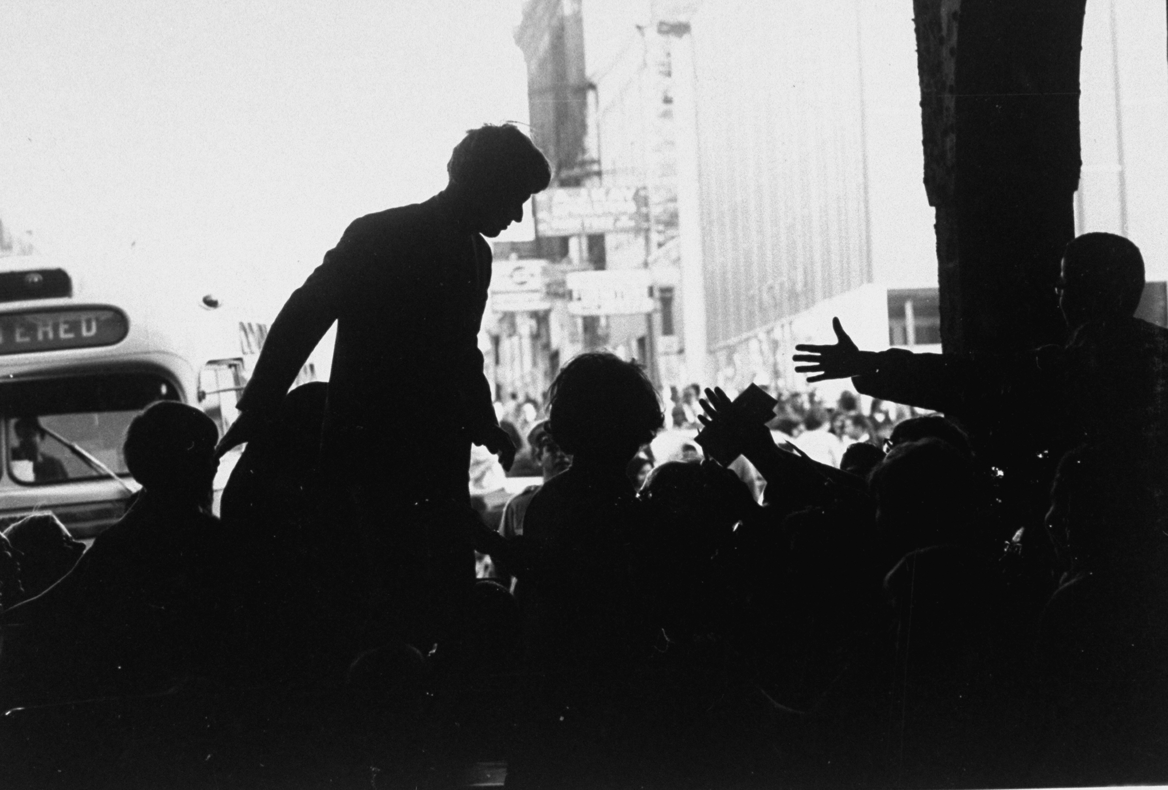 Silhouette of Senator Robert F. Kennedy campaigning in Indiana in early 1968.