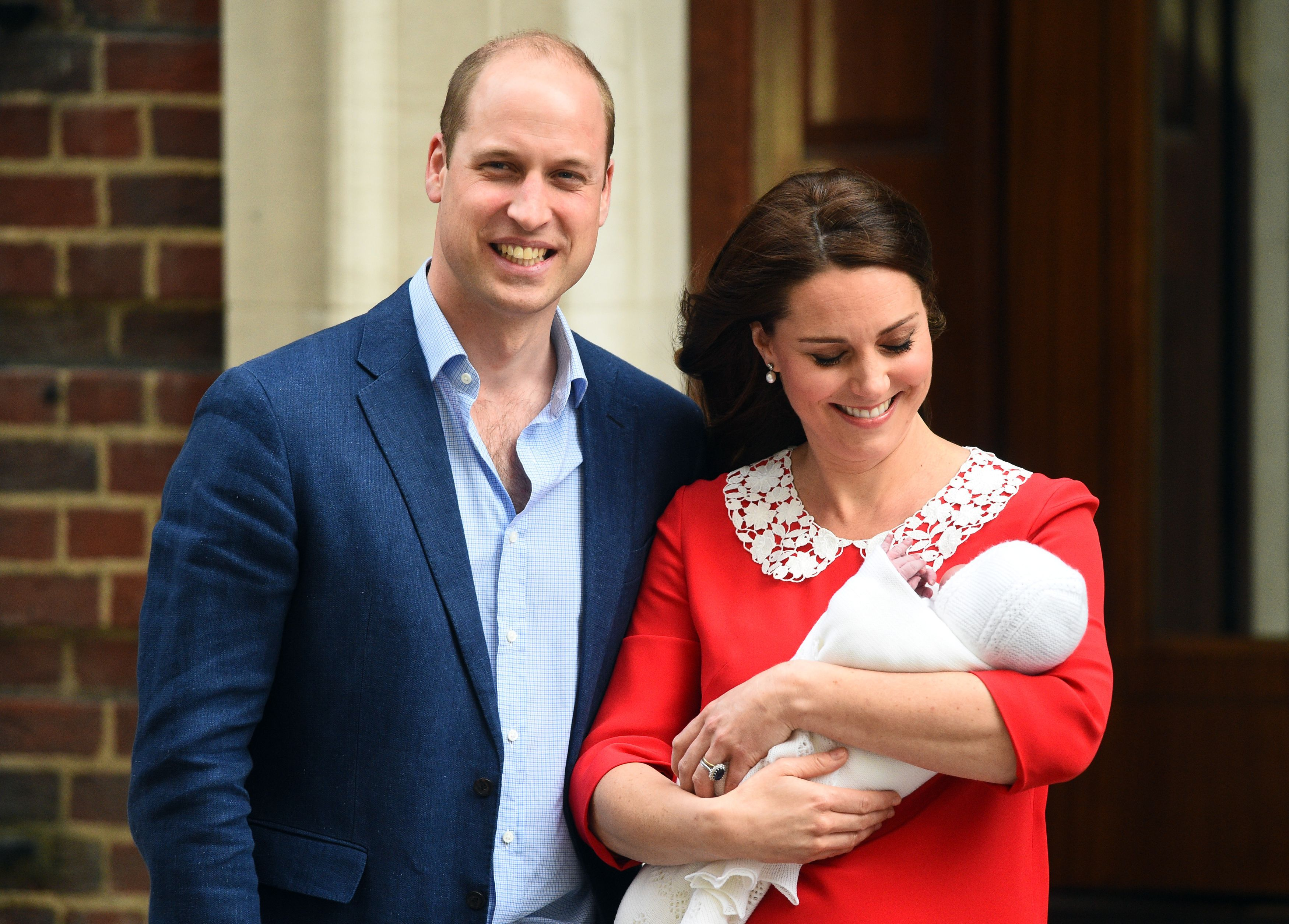 The Duke and Duchess of Cambridge and their newborn son.