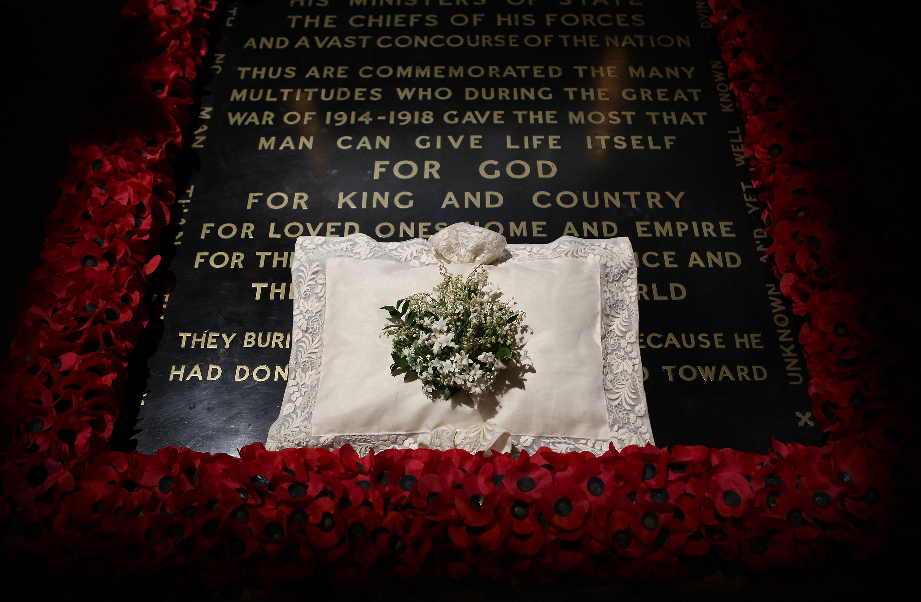 The wedding bouquet of Catherine, Duchess of Cambridge lies on the grave of the unknown warrior in Westminster Abbey on April 30, 2011 in London, England.