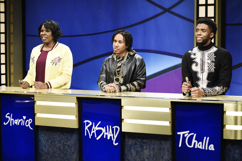 Chadwick Boseman  -- Pictured: (l-r) Leslie Jones as Shanice, Chris Redd as Rashad, Chadwick Boseman as T'Challa during 'Black Jeopardy' in Studio 8H on Saturday, April 7, 2018