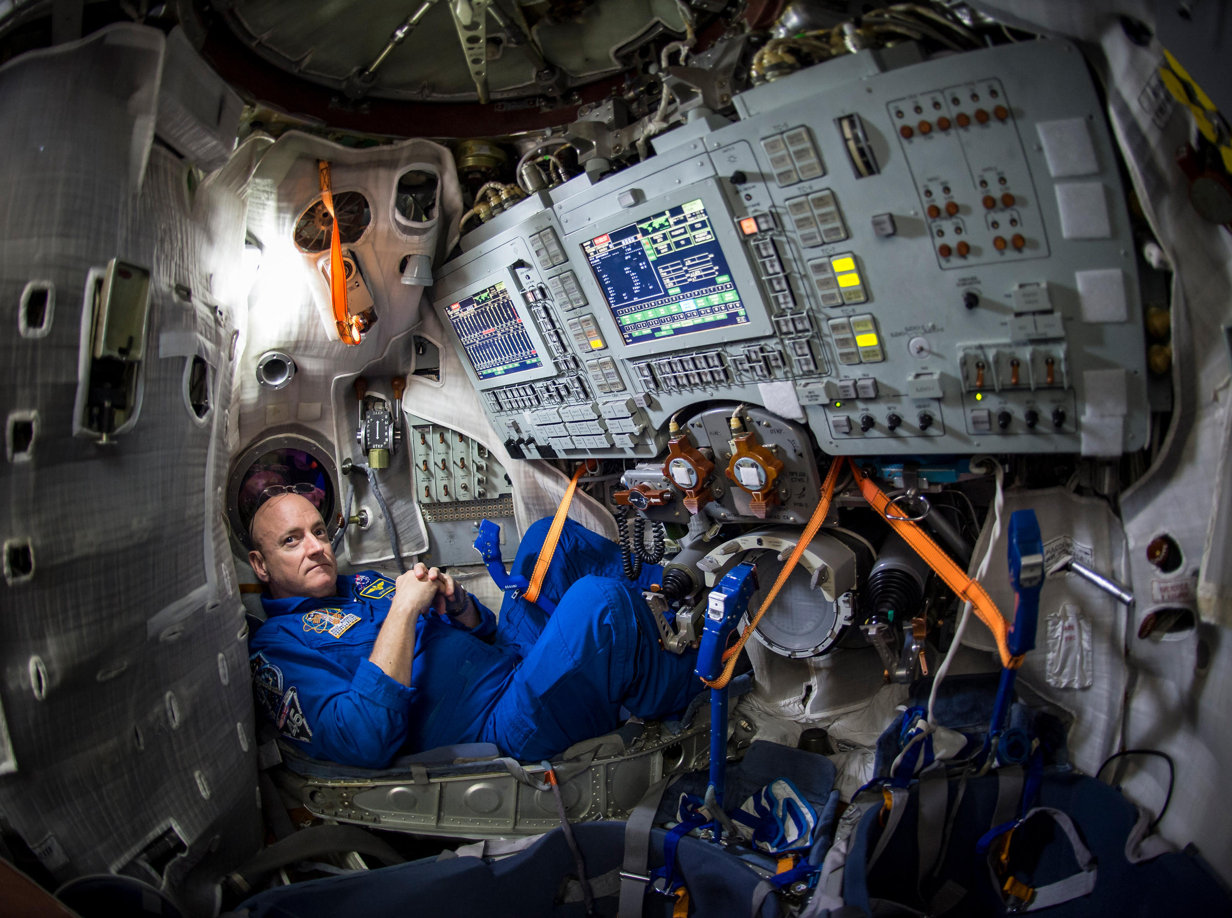 Scott Kelly is seen inside a Soyuz simulator at the Gagarin Cosmonaut Training Center March 5, 2015 in Star City, Russia.